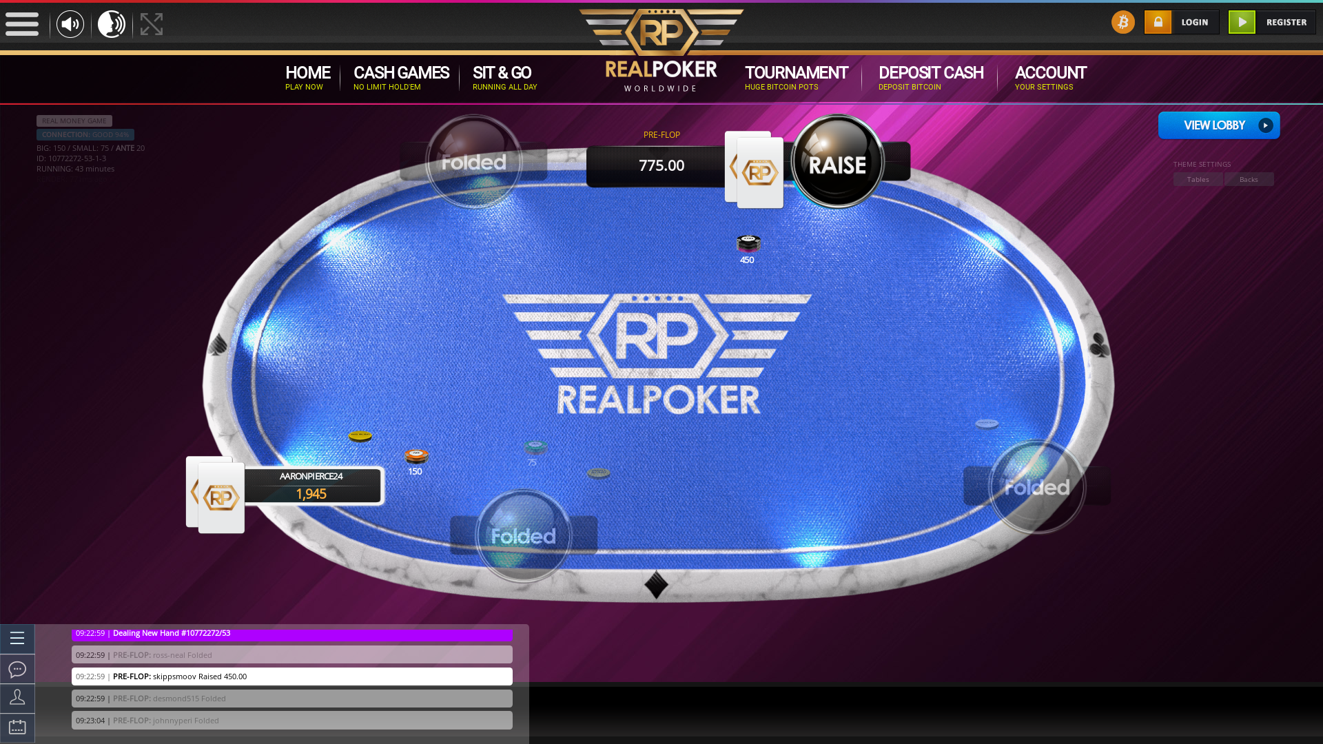 10 player texas holdem table at real poker with the table id 10772272