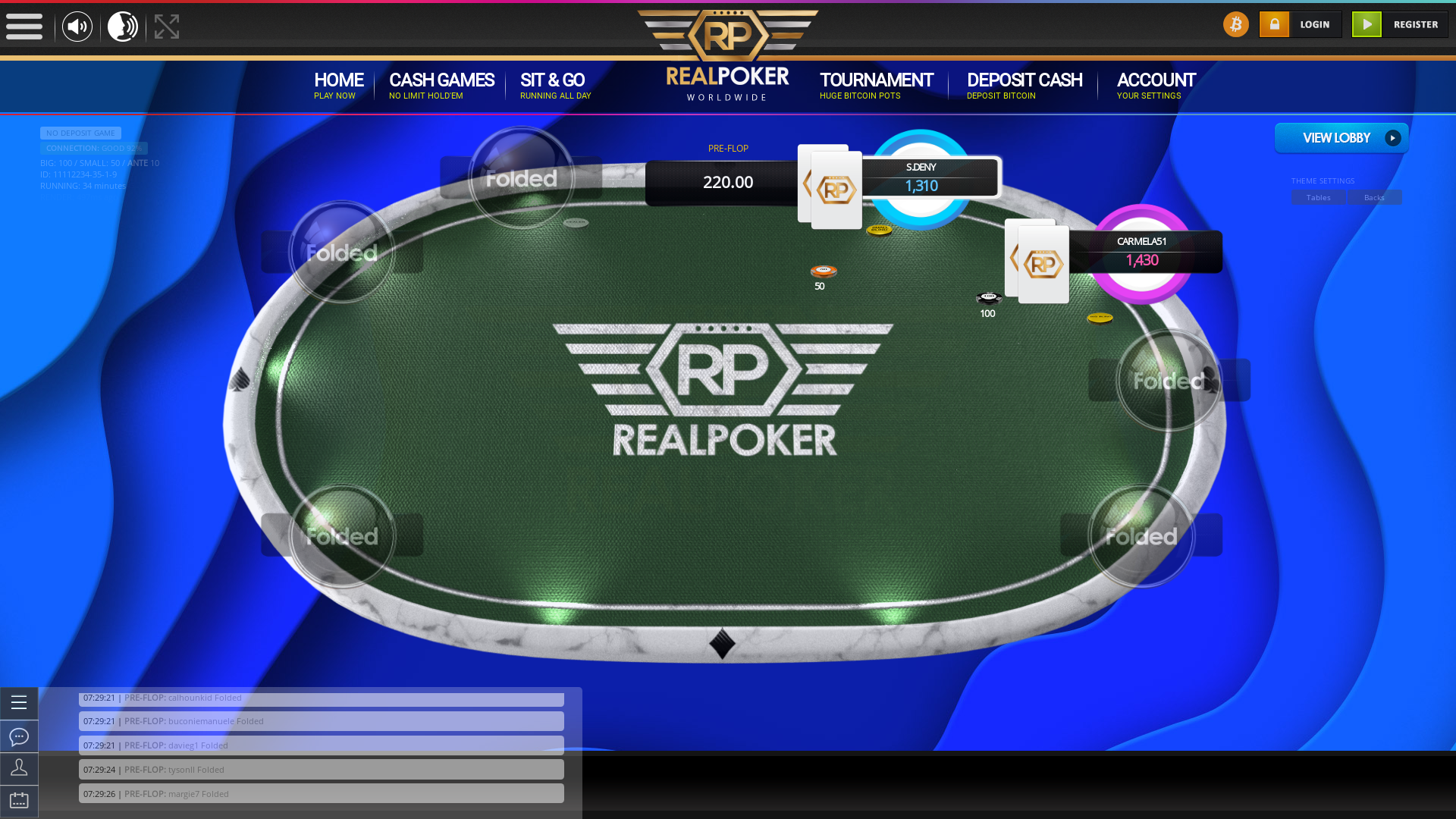 10 player texas holdem table at real poker with the table id 11112234