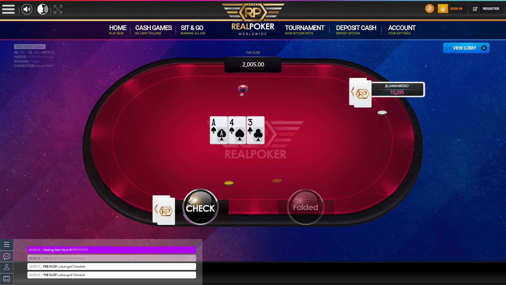 10 player texas holdem table at real poker with the table id 1171111