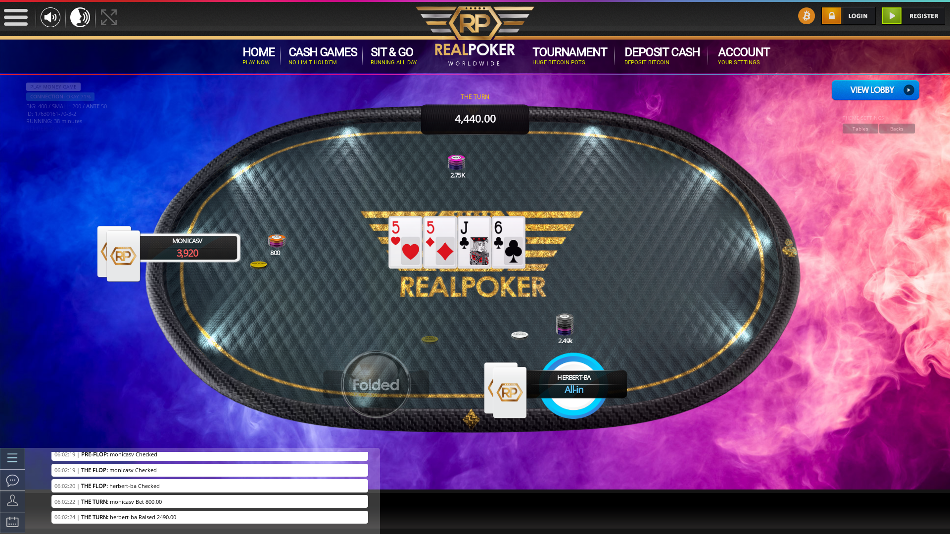 10 player texas holdem table at real poker with the table id 17630161