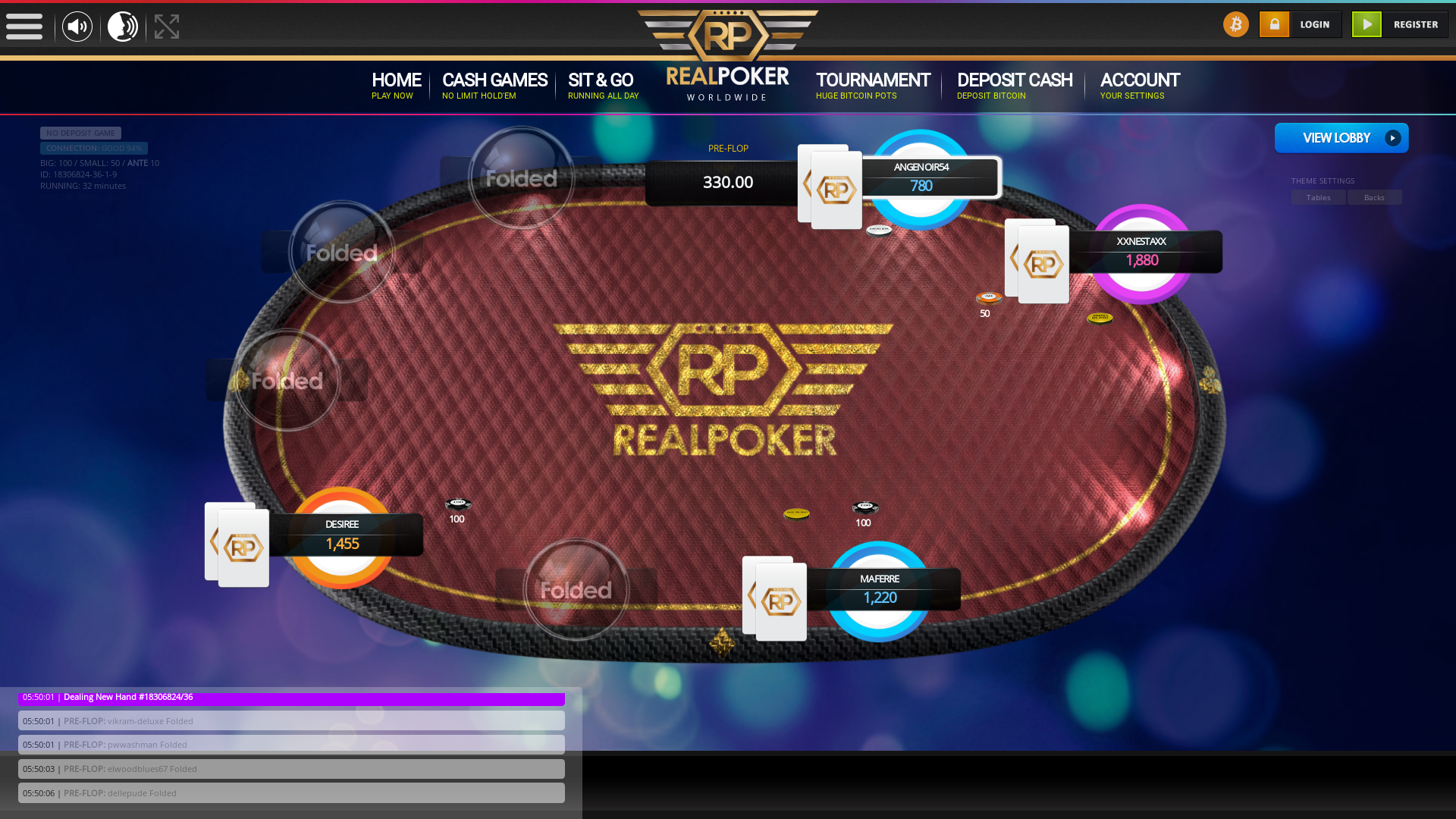 10 player texas holdem table at real poker with the table id 18306824