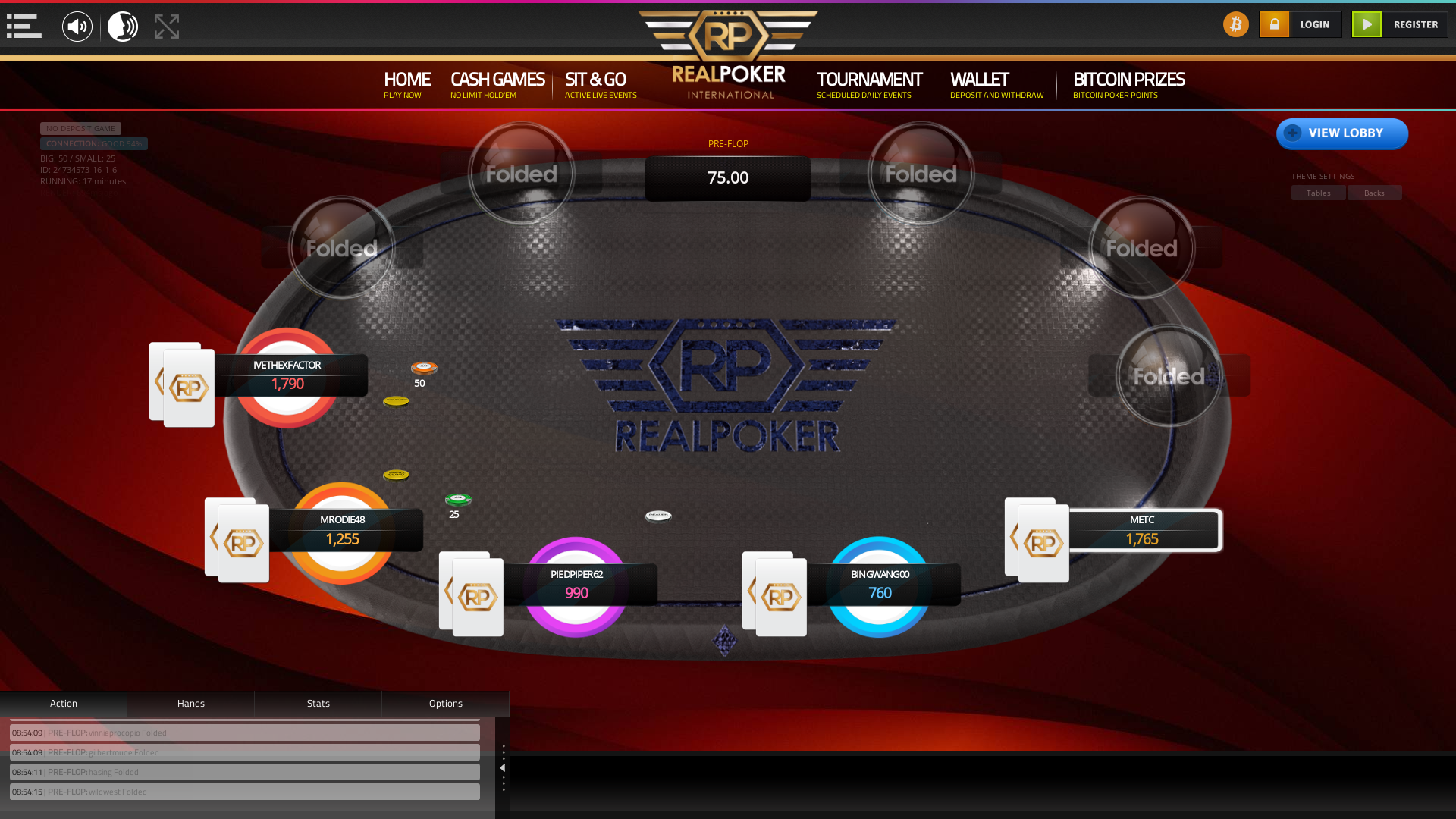 10 player texas holdem table at real poker with the table id 24734573