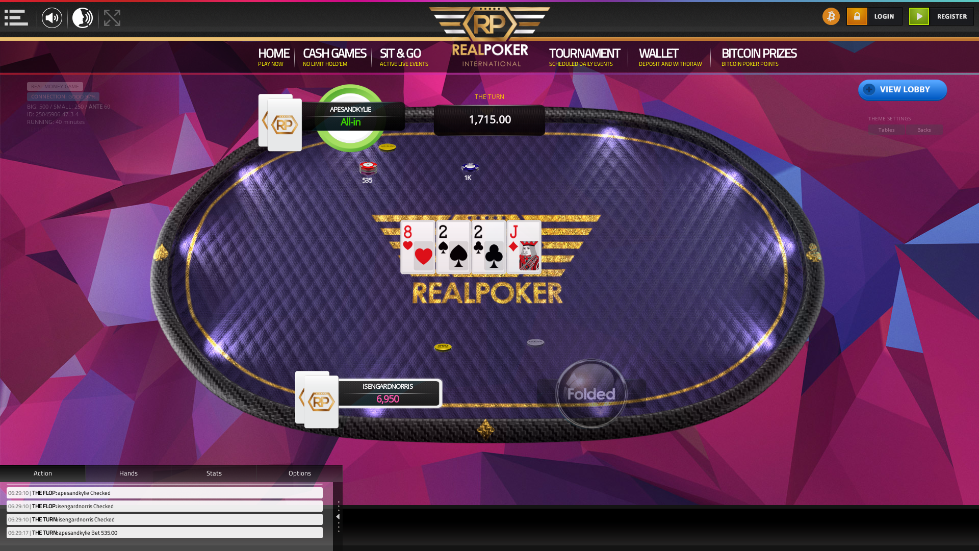 10 player texas holdem table at real poker with the table id 25045906