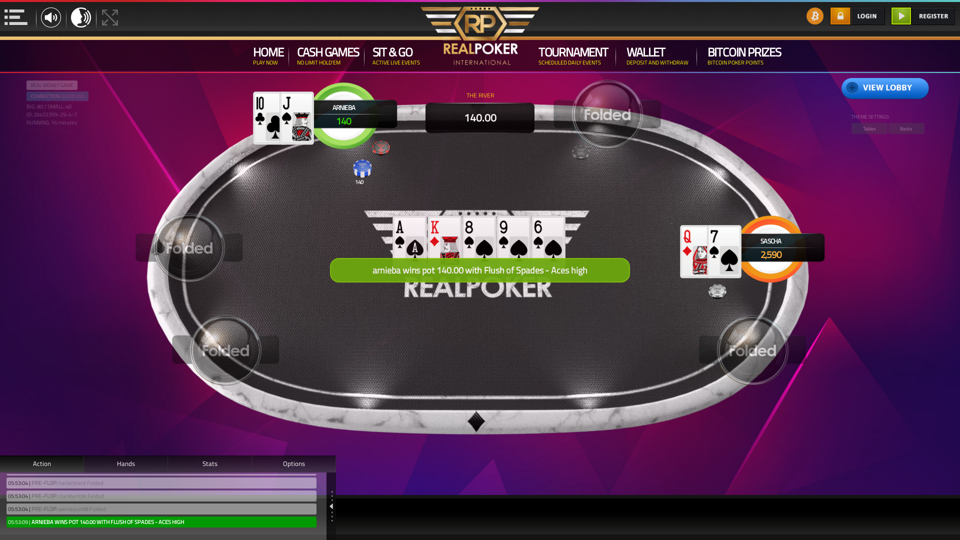 10 player texas holdem table at real poker with the table id 26452359
