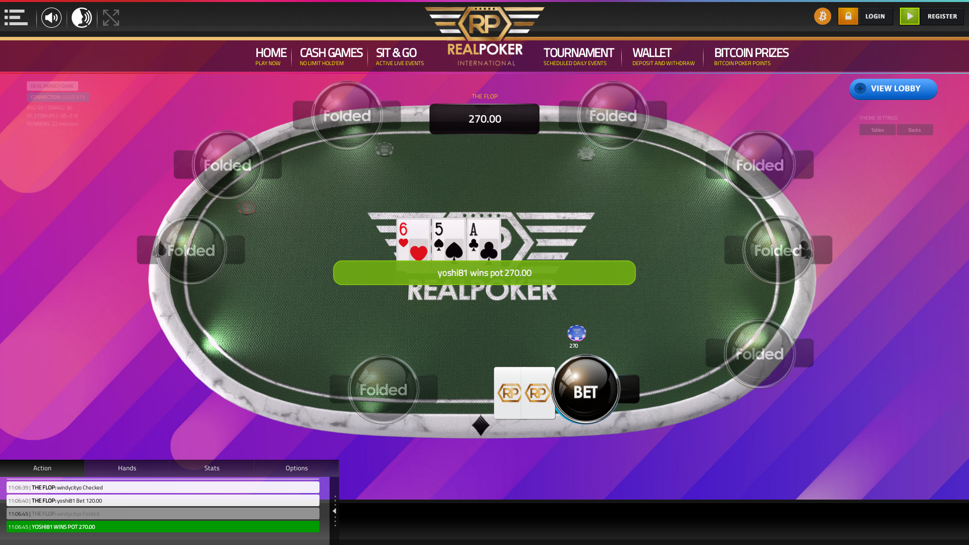 10 player texas holdem table at real poker with the table id 27084951