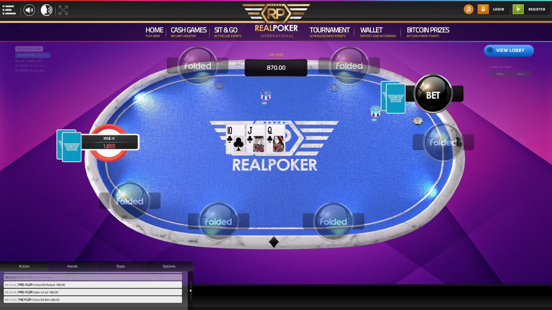 10 player texas holdem table at real poker with the table id 30503715