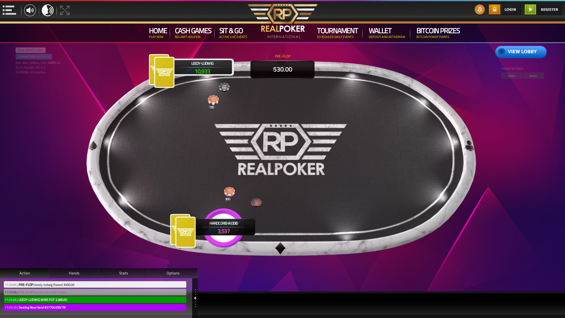 10 player texas holdem table at real poker with the table id 31704339