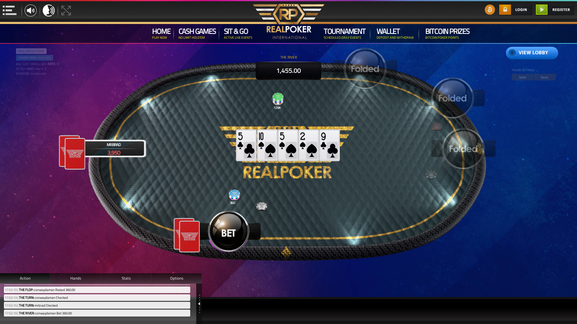10 player texas holdem table at real poker with the table id 32118681