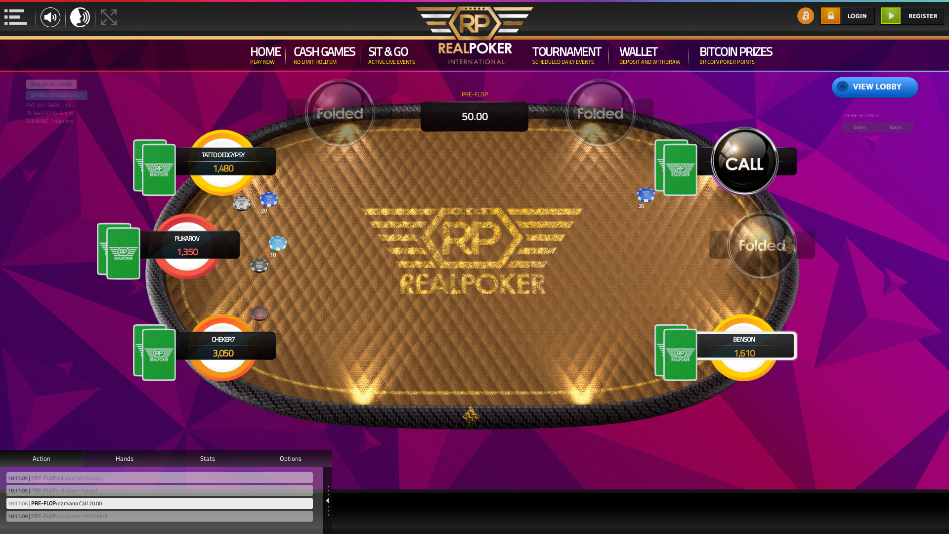 10 player texas holdem table at real poker with the table id 34653236
