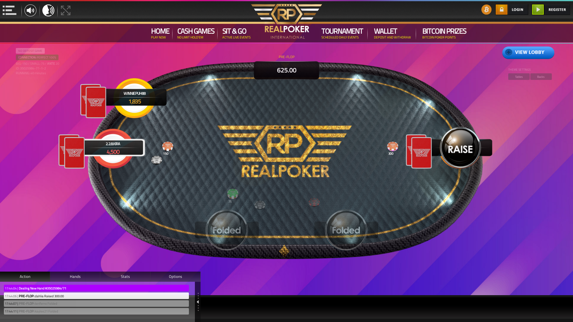 10 player texas holdem table at real poker with the table id 35025984