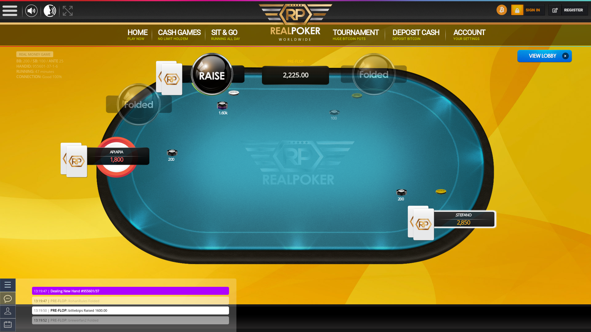 10 player texas holdem table at real poker with the table id 955601