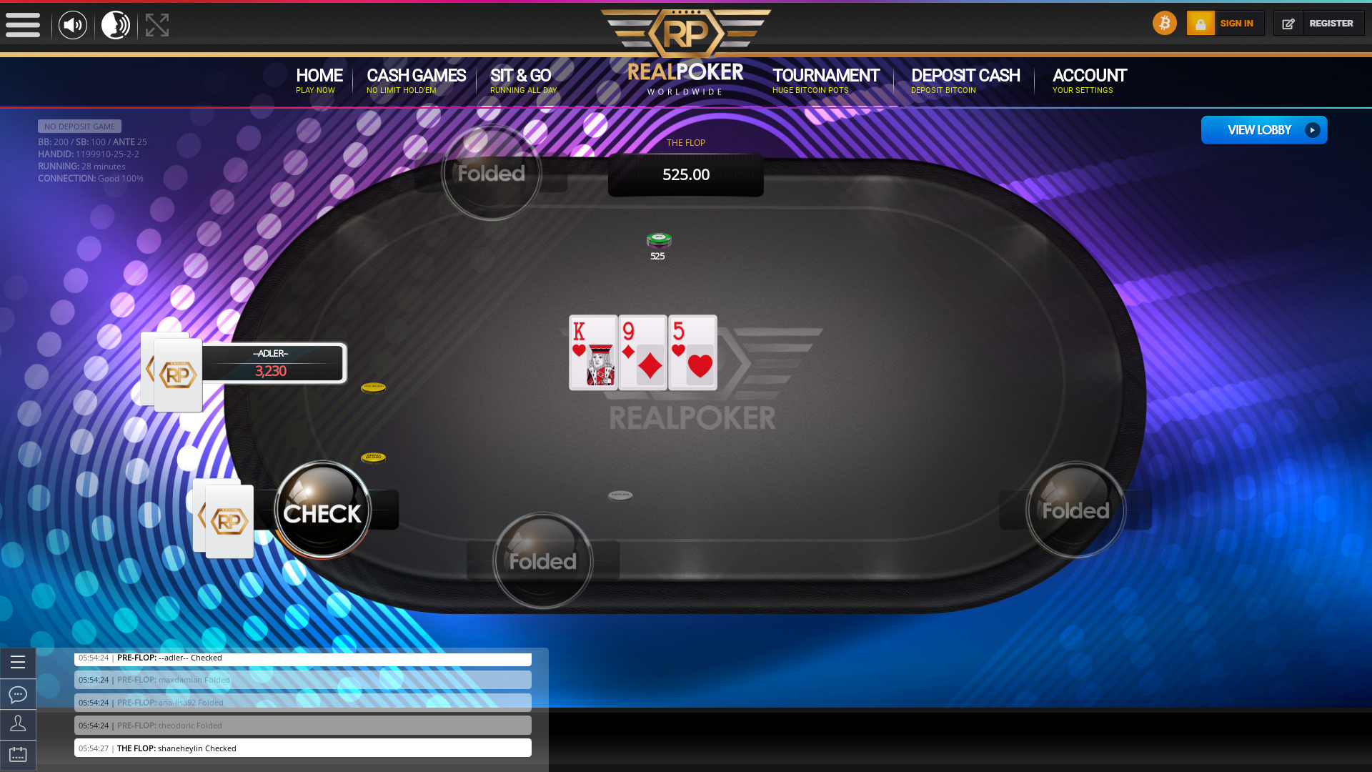 Brazil online poker game on a 10 player table in the 28th minute of the meeting
