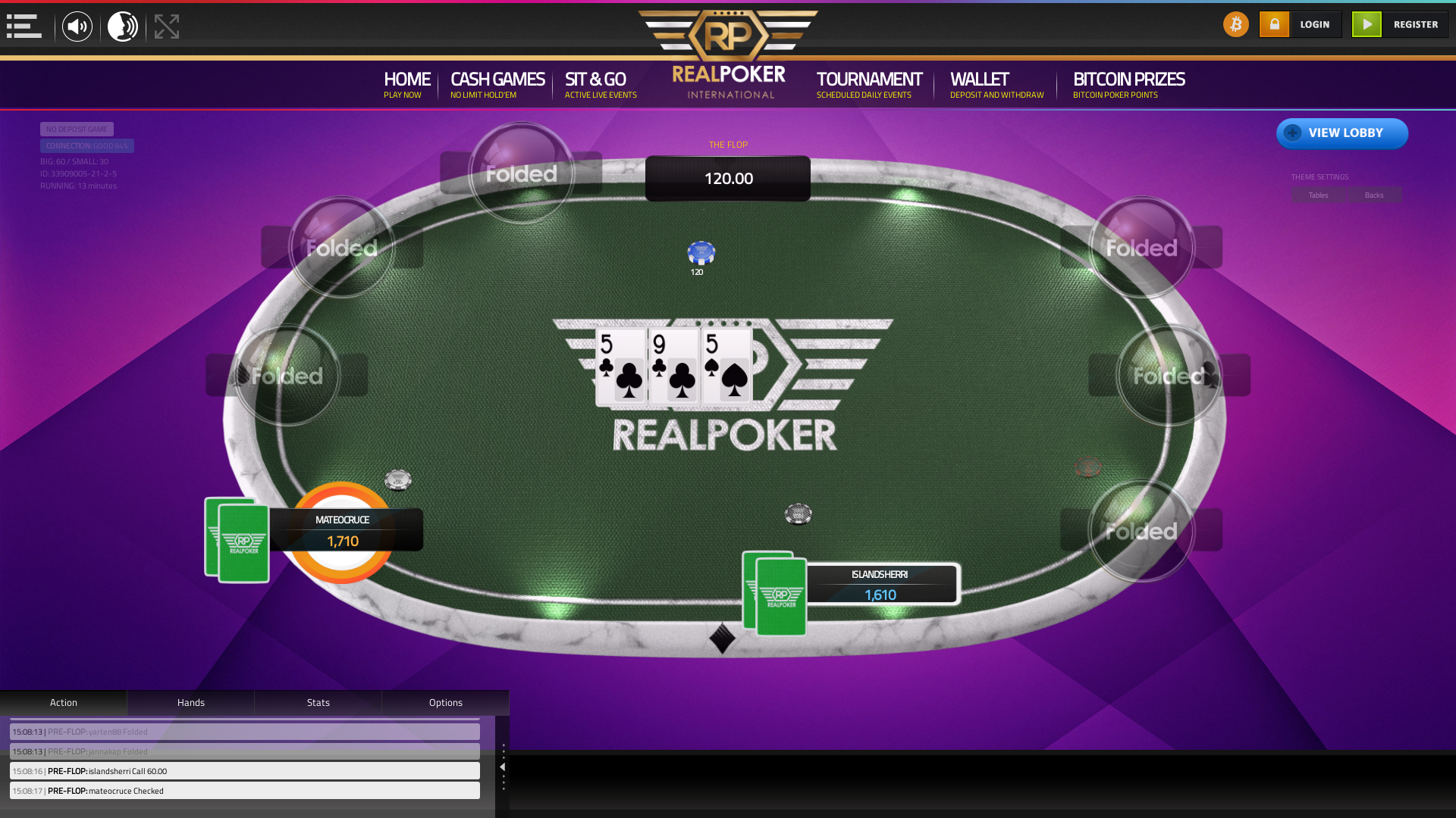 Caracas poker table on a 10 player table in the 13th minute