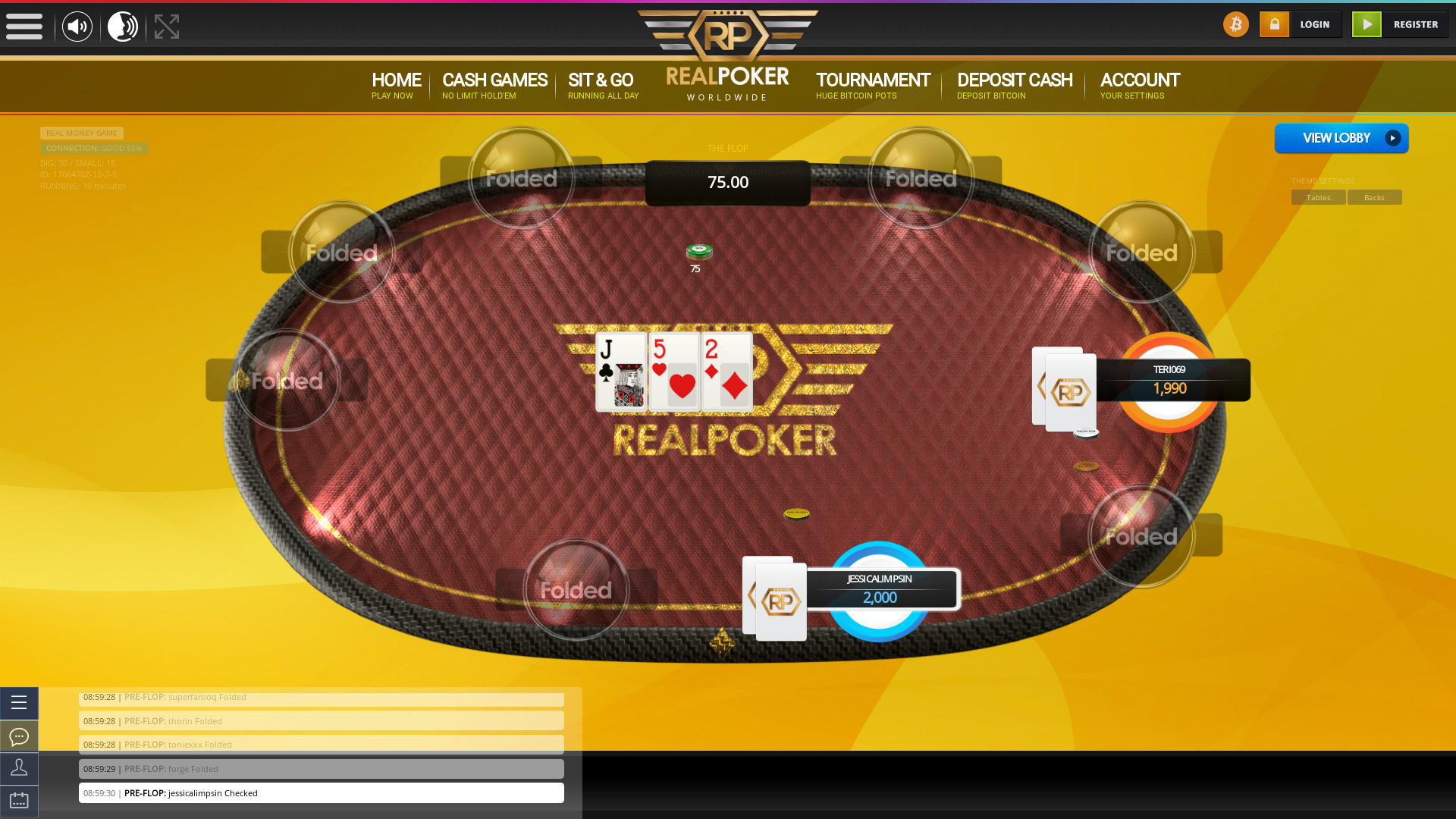 England online poker game on a 10 player table in the 10th minute of the meeting