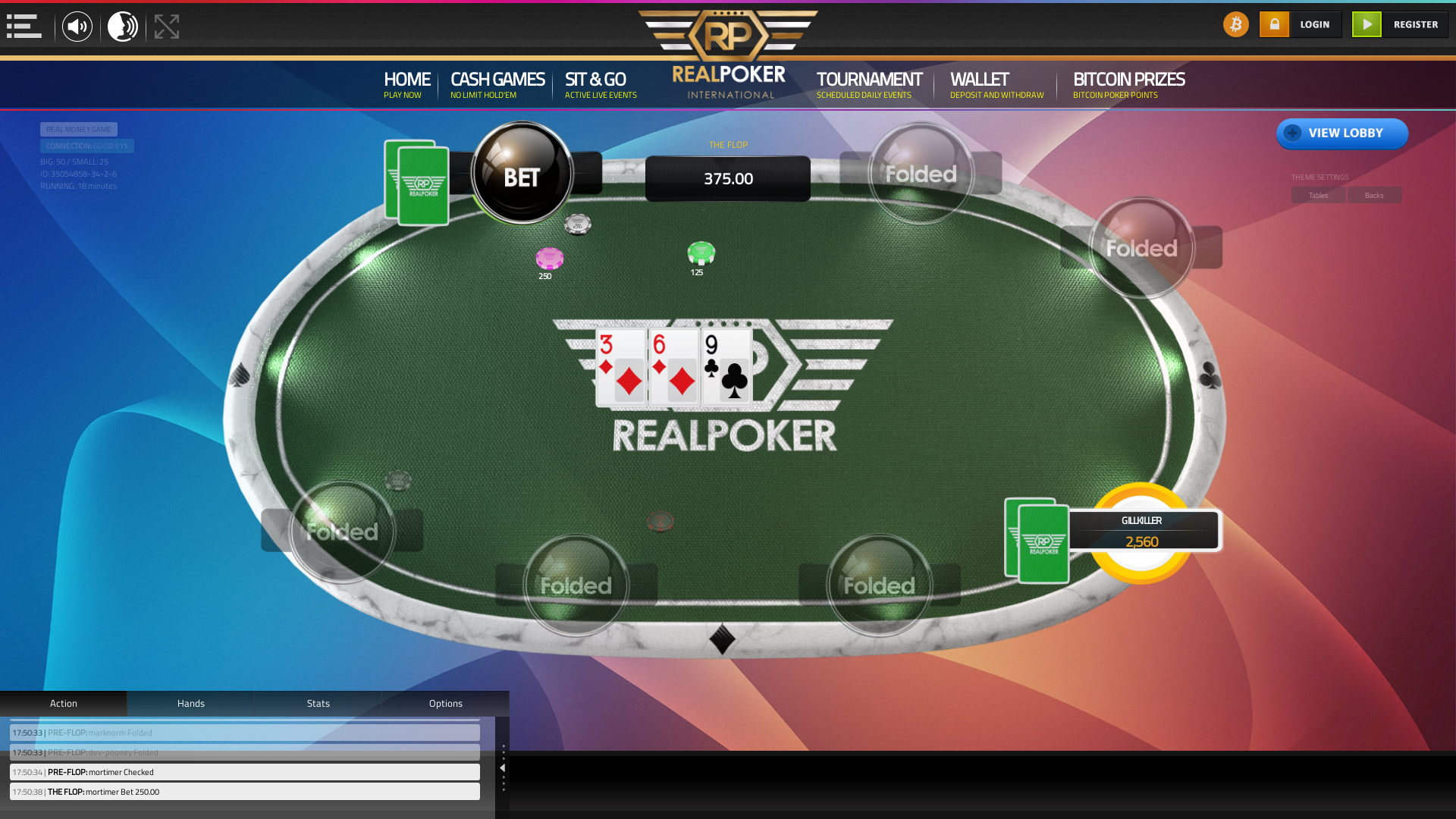 Global 10 player poker in the 18th minute