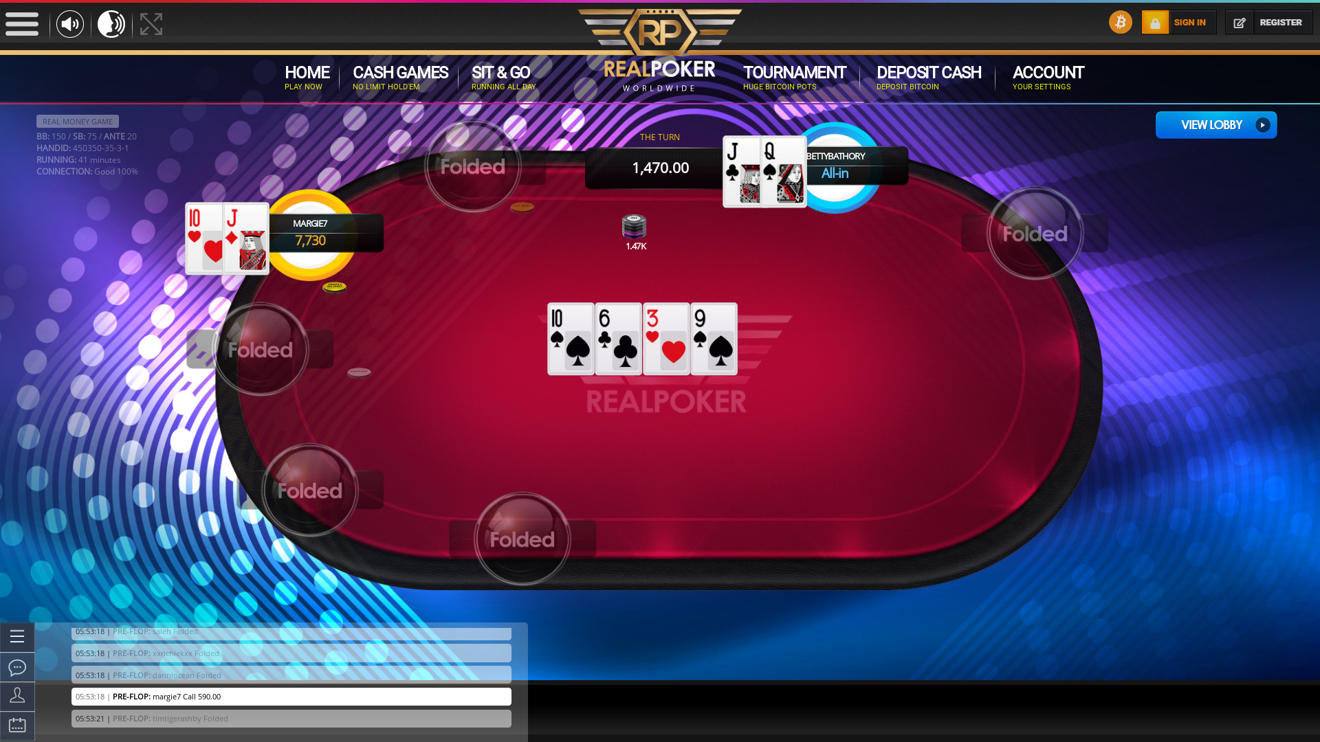 Italy online poker game on a 10 player table in the 41st minute