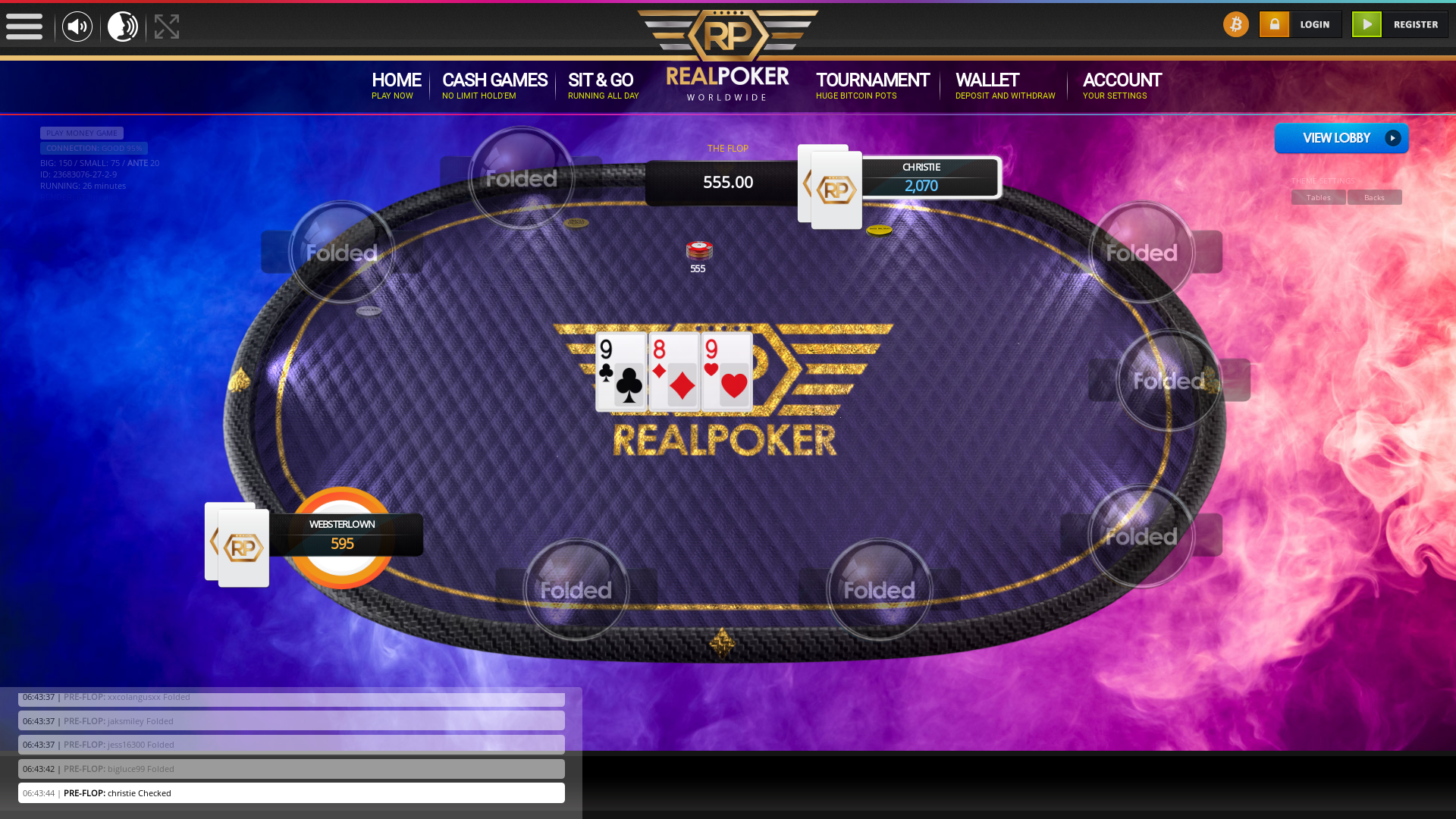 London real poker on a 10 player table in the 26th minute of the match