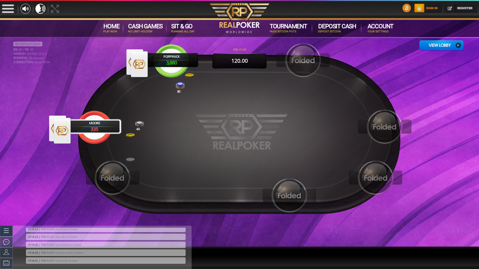 Mexico online poker game on a 10 player table in the 28th minute of the game