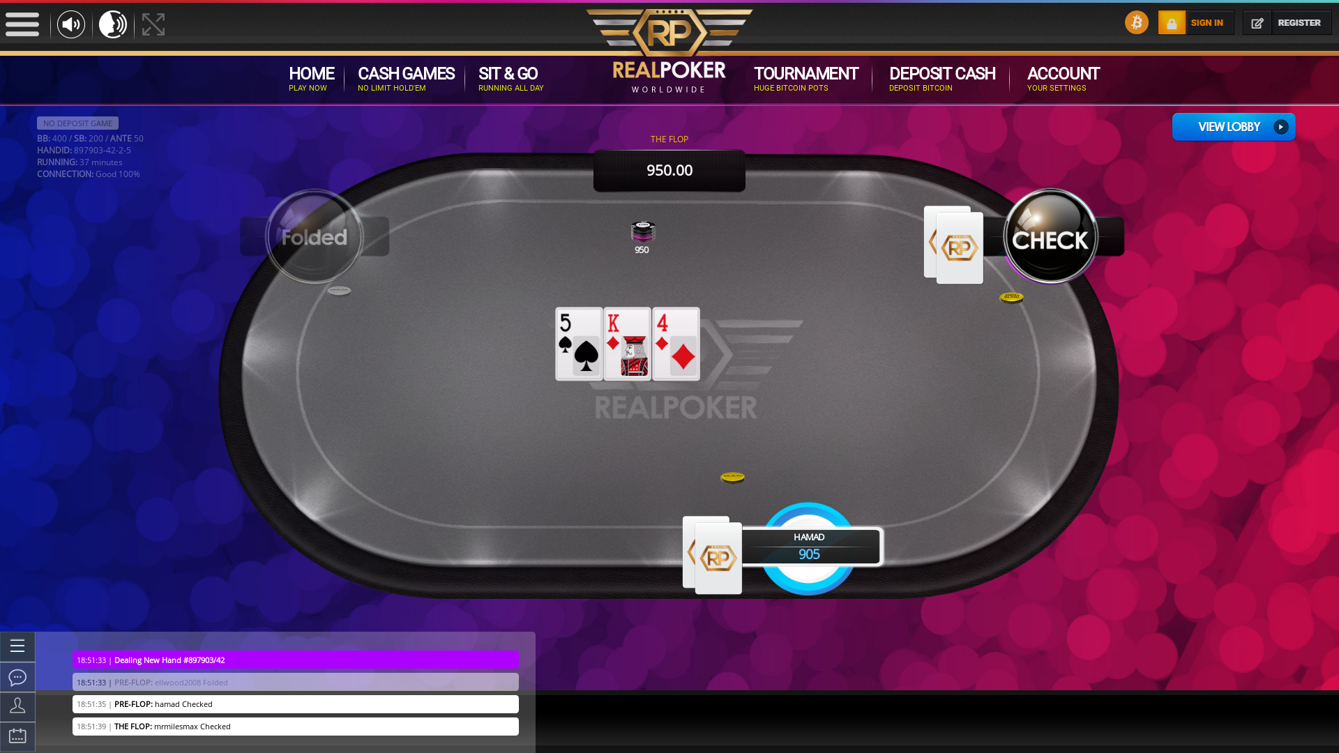 Mexico online poker game on a 10 player table in the 37th minute