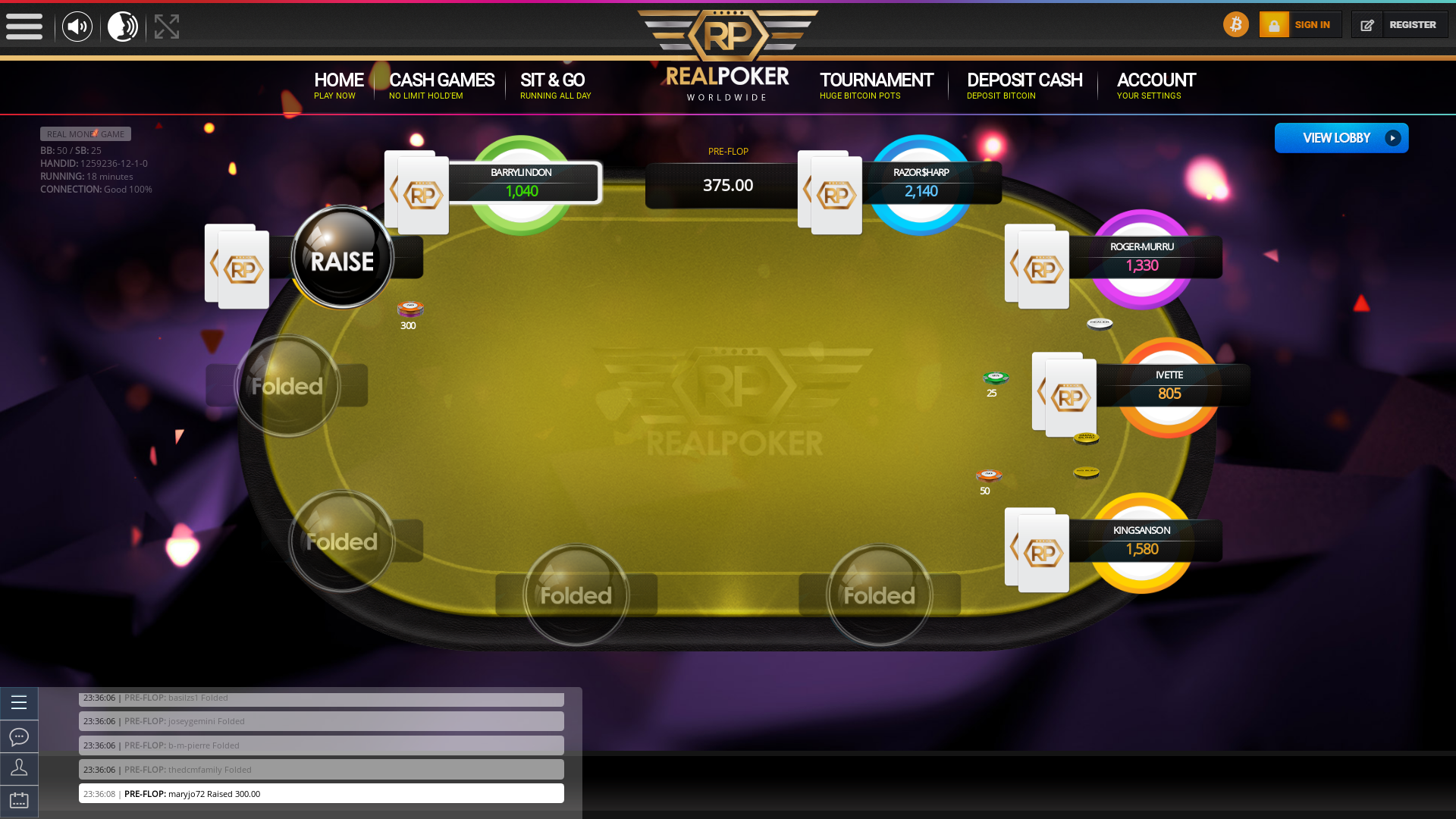 Online poker on a 10 player table in the 18th minute match up