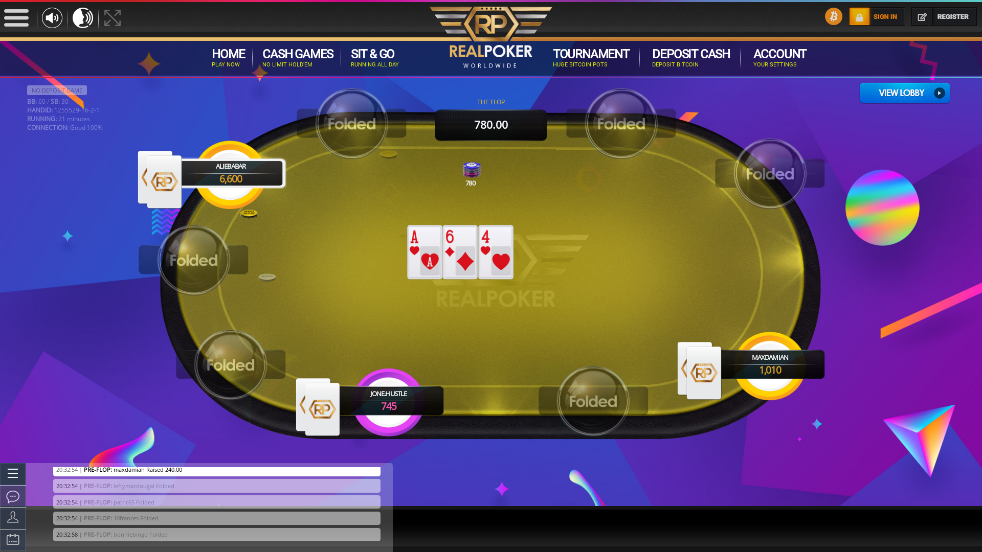 Online poker on a 10 player table in the 21st minute match up