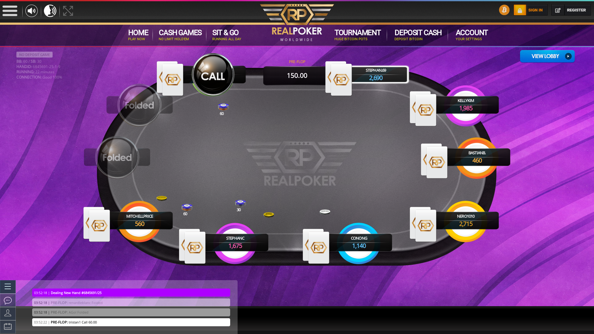 Online poker on a 10 player table in the 22nd minute match up