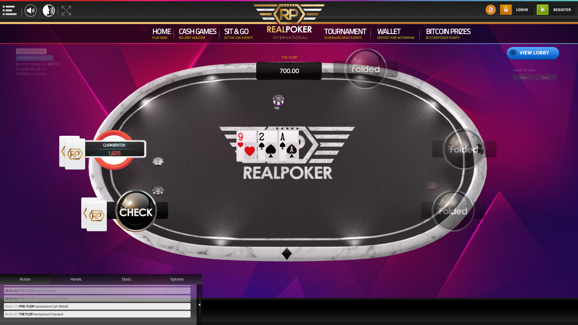 Online poker on a 10 player table in the 25th minute match up