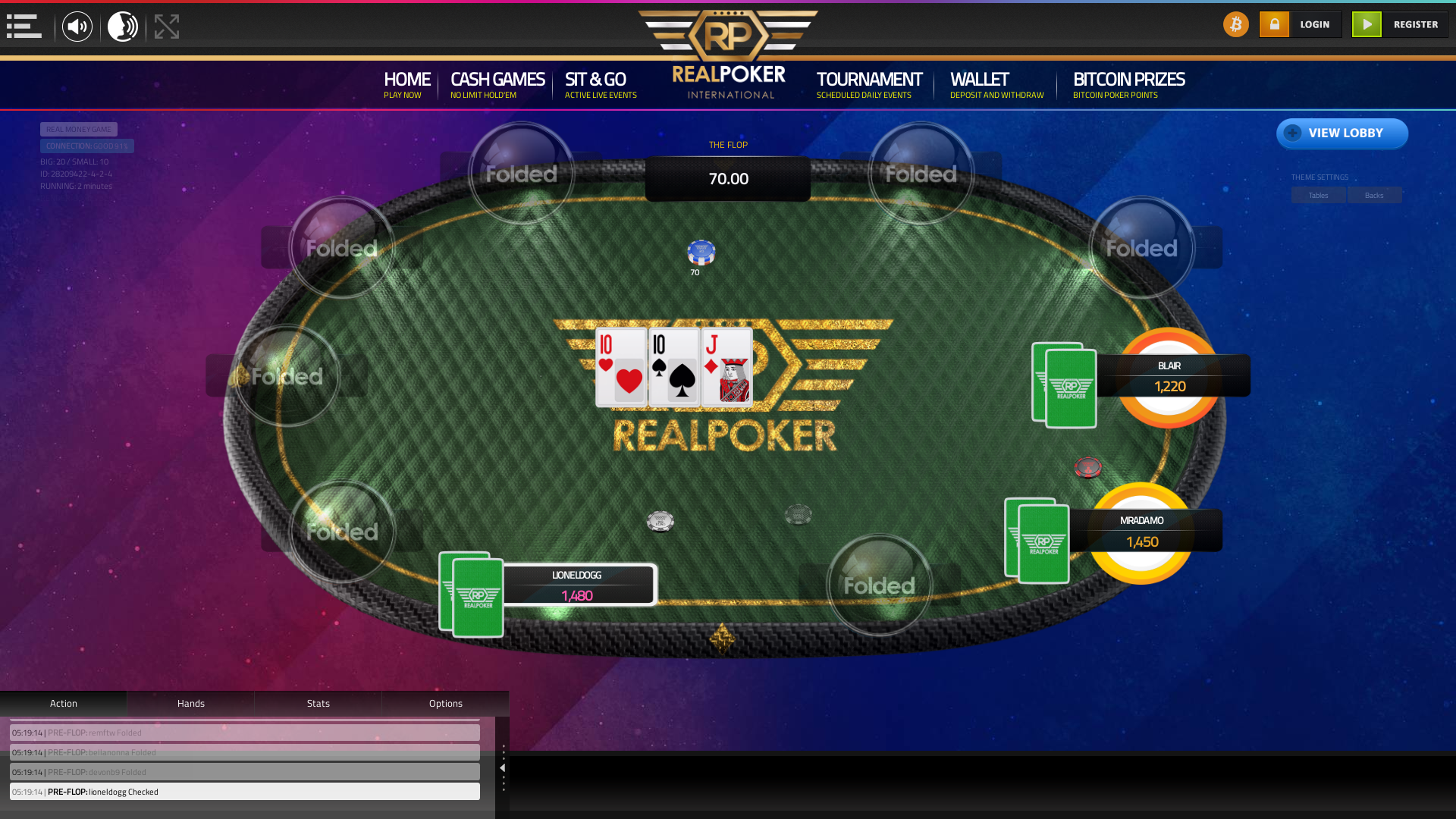 Online poker on a 10 player table in the 2nd minute match up
