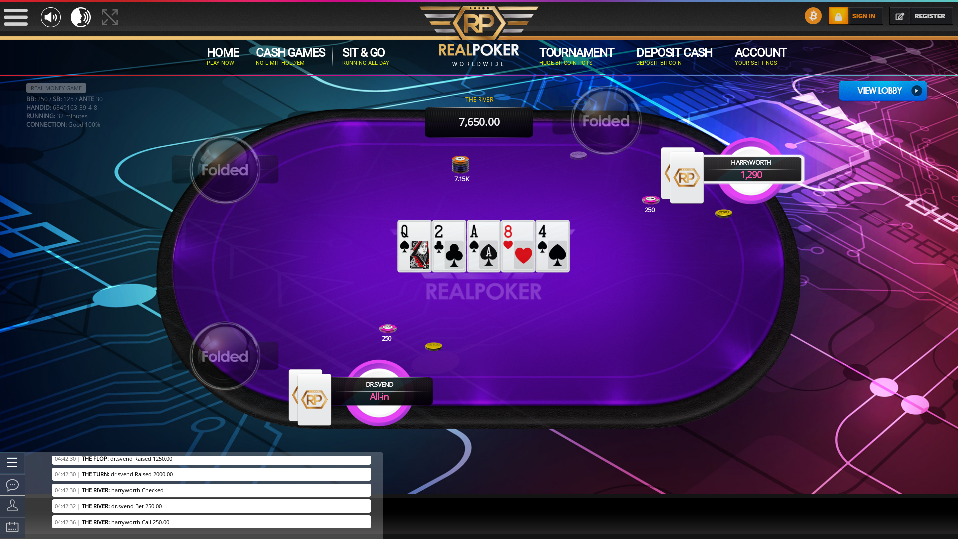 Online poker on a 10 player table in the 32nd minute match up
