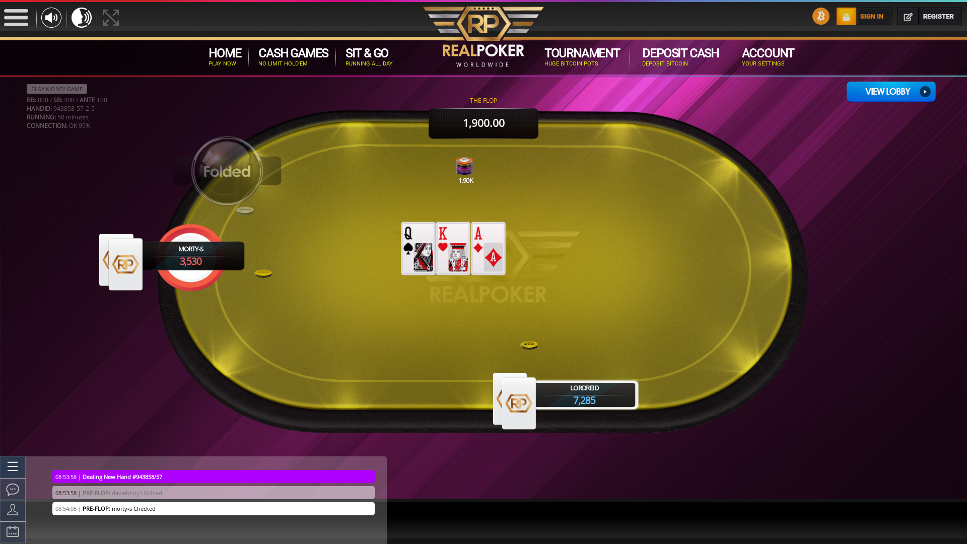Online poker on a 10 player table in the 49th minute match up
