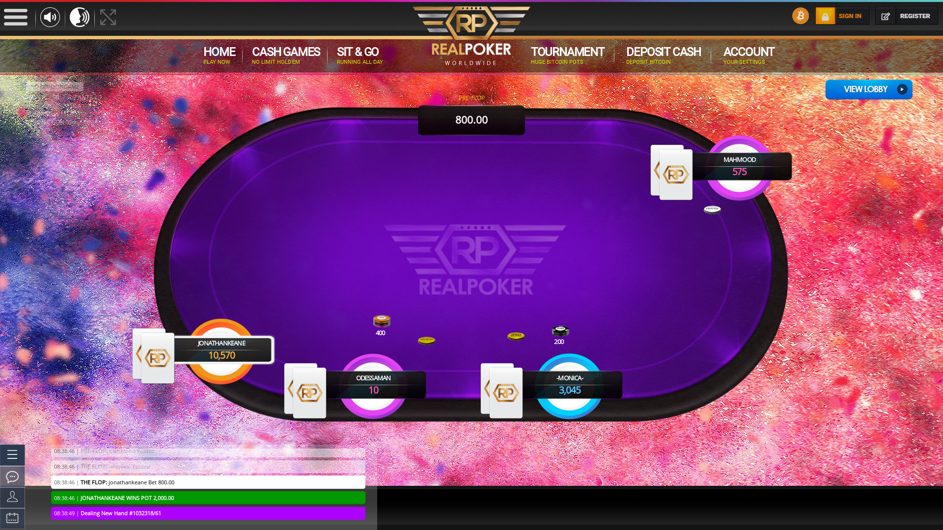 Online poker on a 10 player table in the 61st minute match up