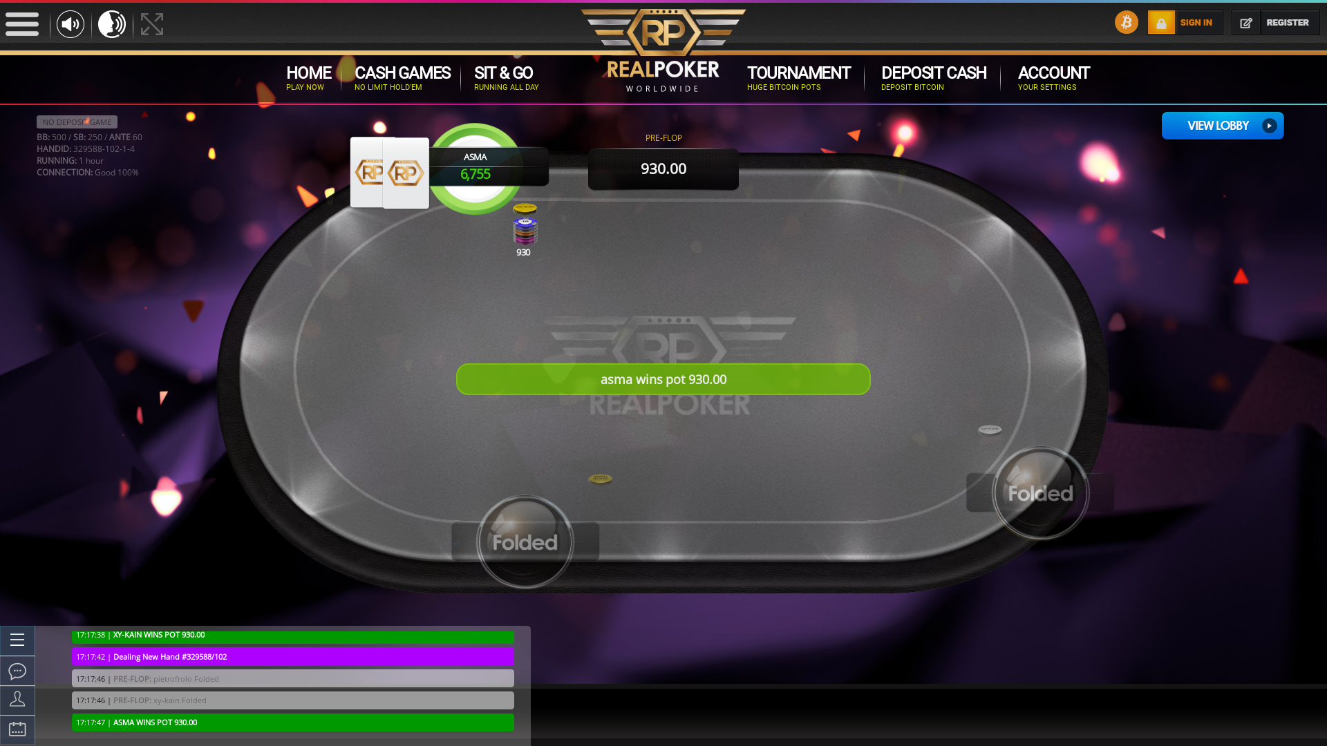 Online poker on a 10 player table in the 69th minute match up
