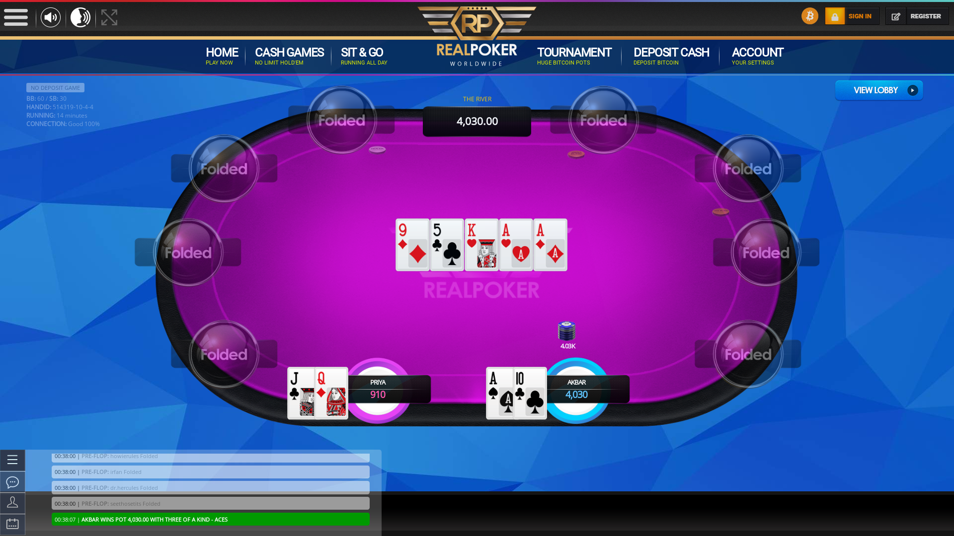 poker on a 10 player table in the 14th minute