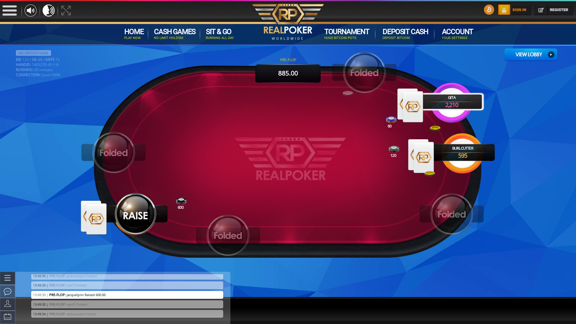 poker on a 10 player table in the 39th minute