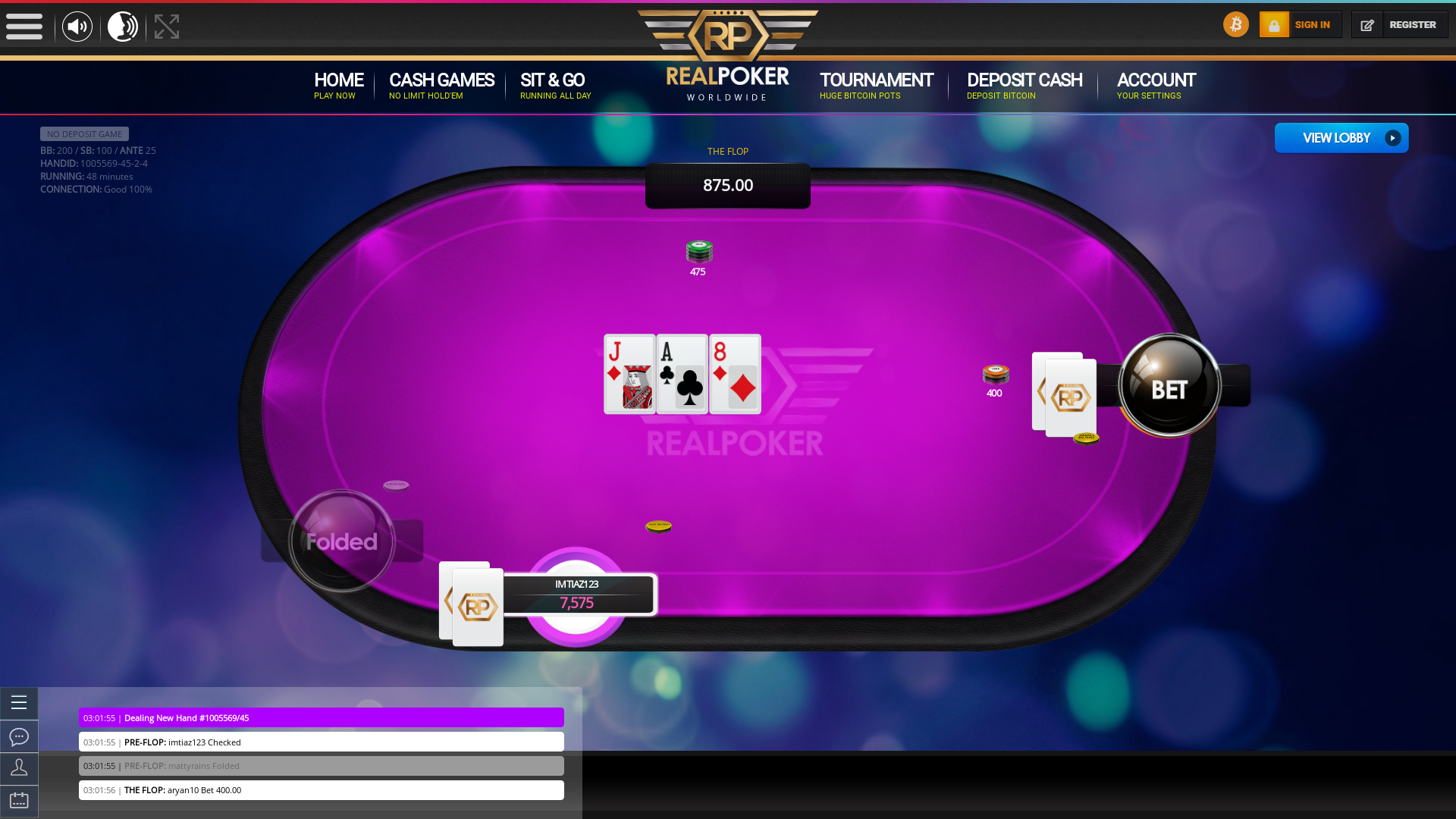 poker on a 10 player table in the 48th minute