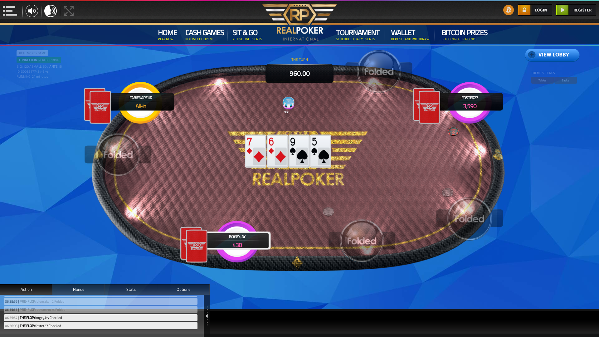 Real  poker on a 10 player table in the 23rd minute of the game