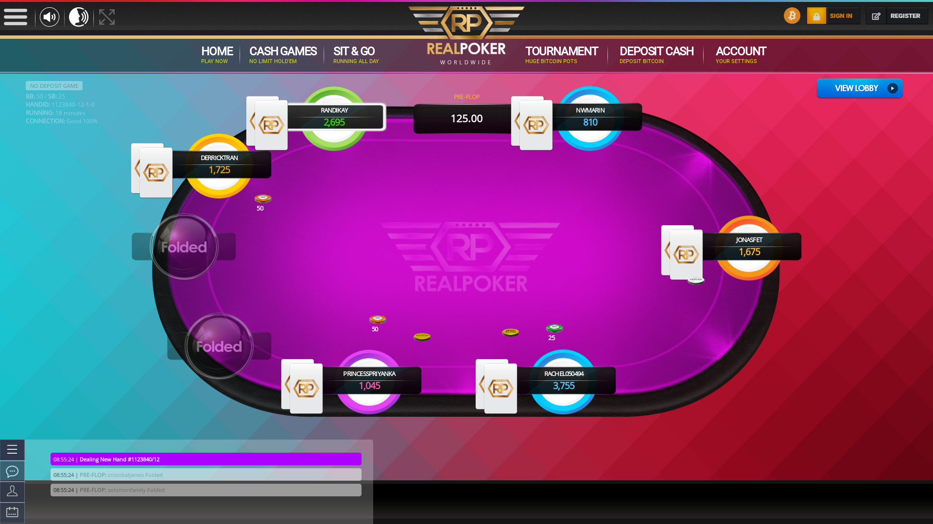 Real poker 10 player table in the 18th minute of the match