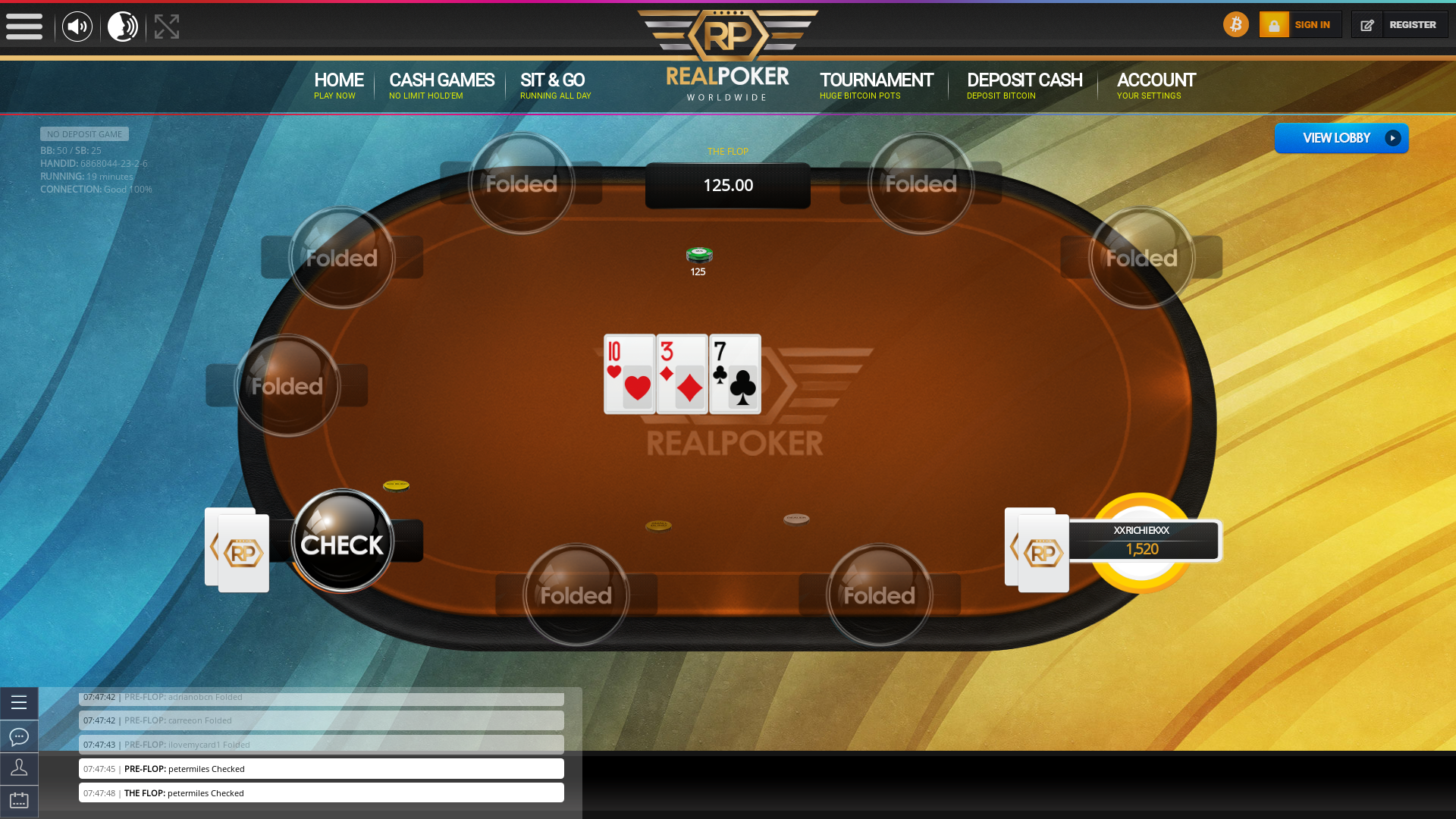 Real poker 10 player table in the 19th minute