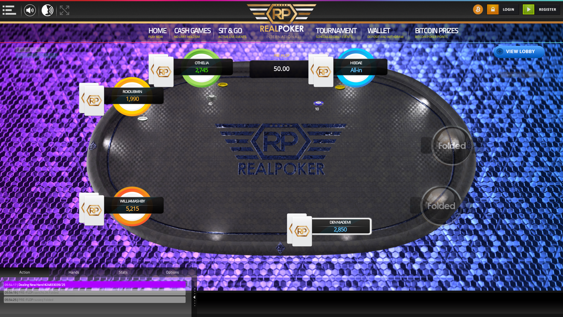 Real poker 10 player table in the 25th minute of the match