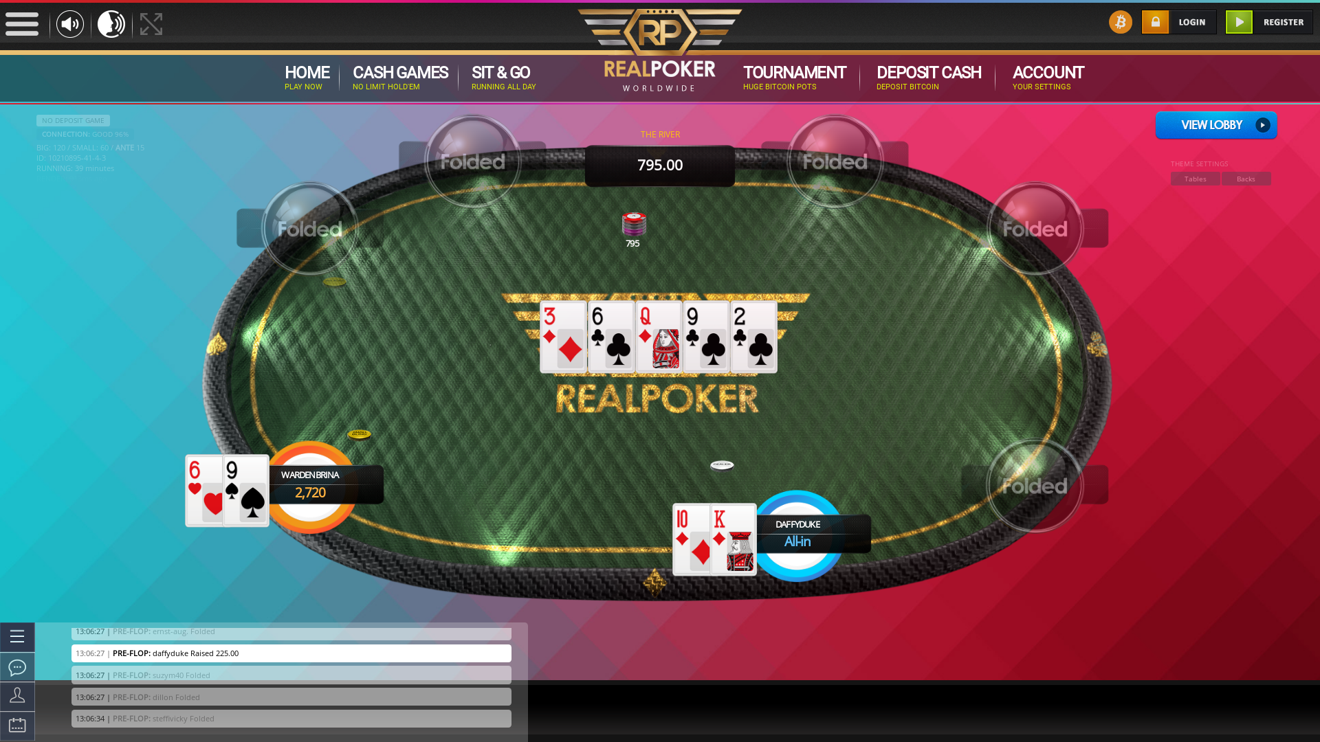 Real poker 10 player table in the 38th minute