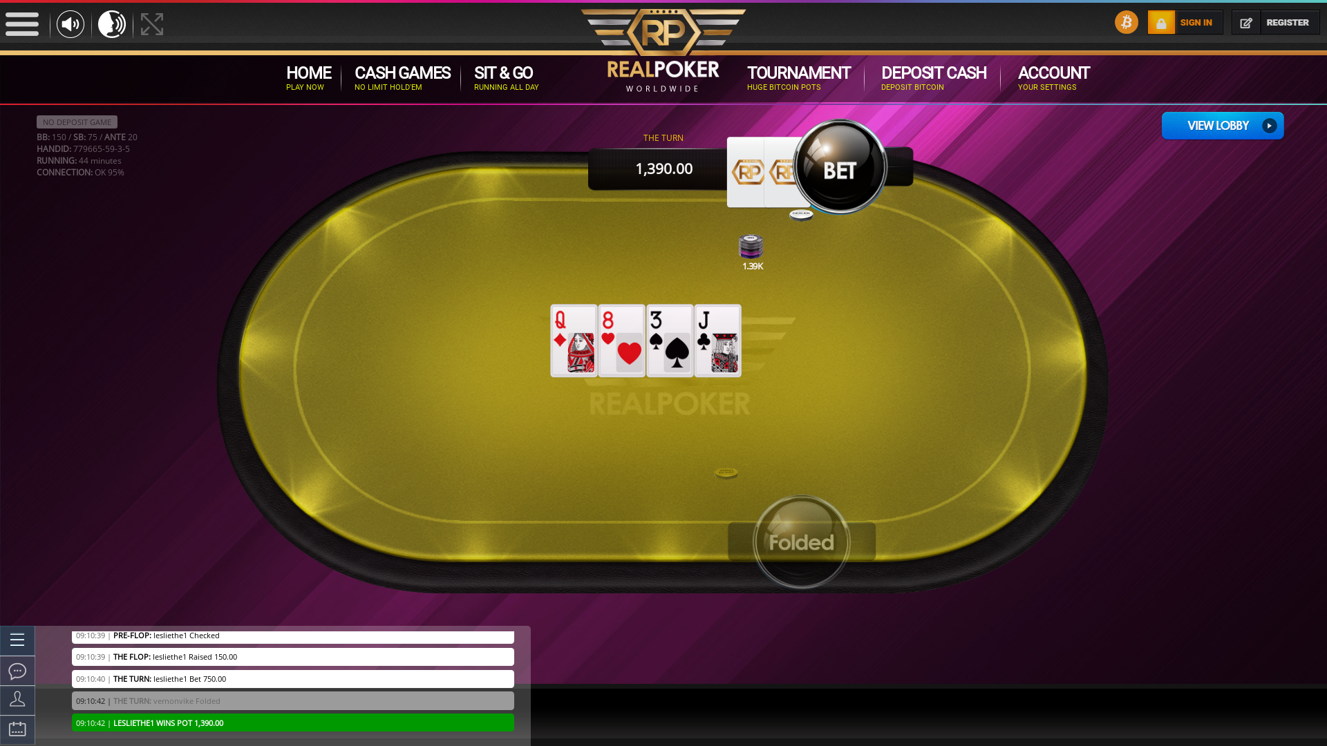Real poker 10 player table in the 44th minute of the match