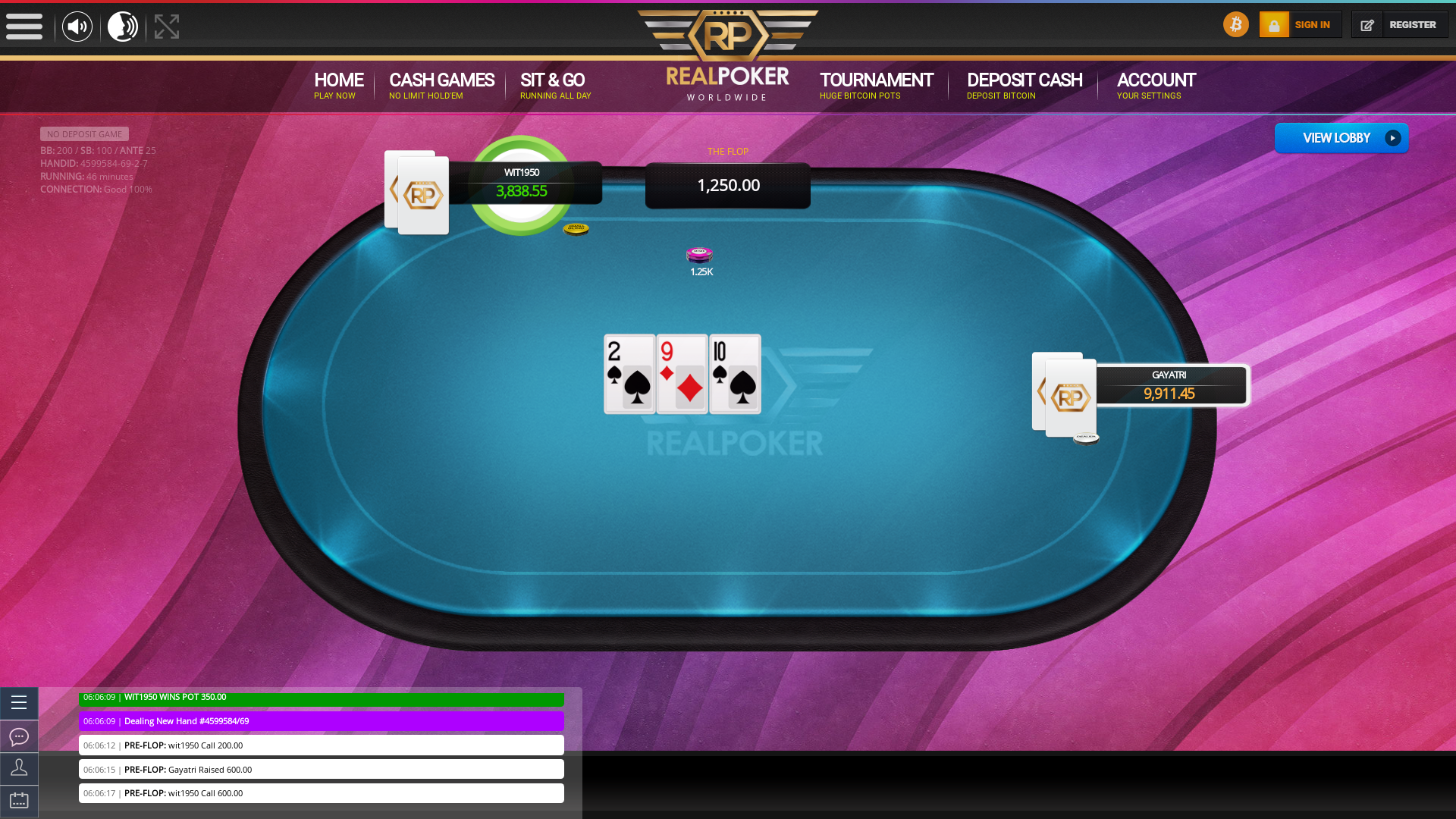 Real poker 10 player table in the 46th minute of the match