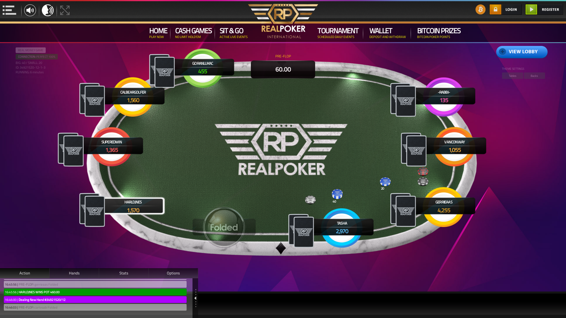 Real poker 10 player table in the 6th minute