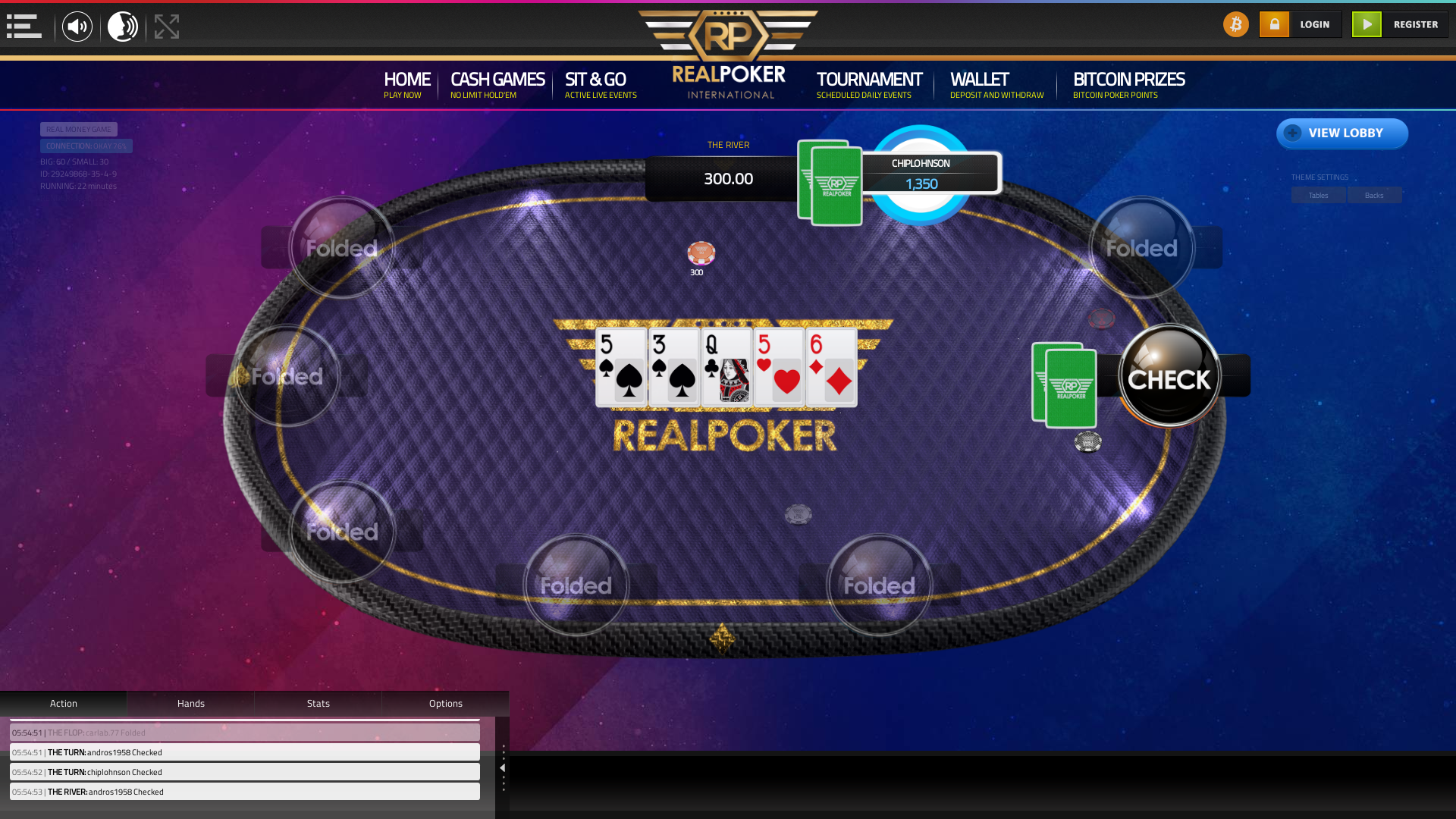 Real poker on a 10 player table in the 22nd minute of the game