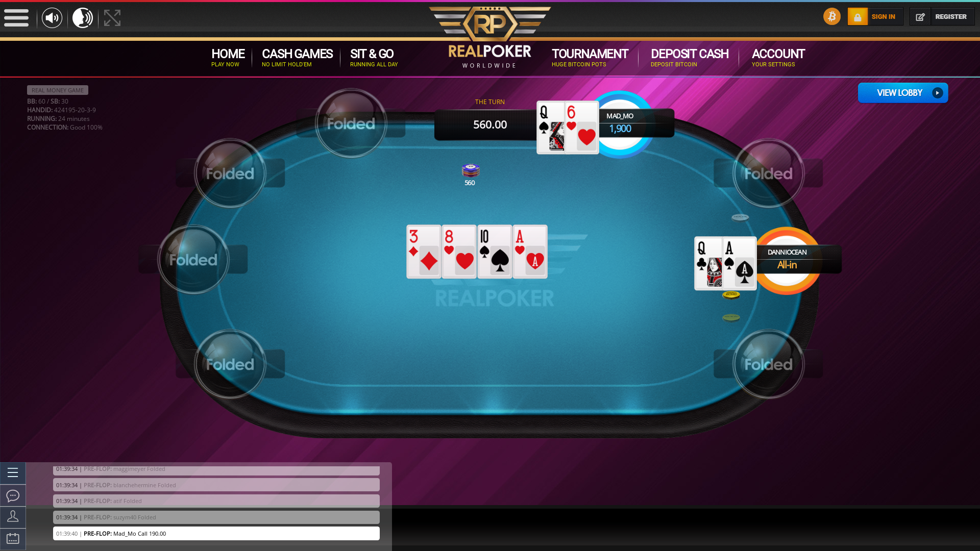 Real poker on a 10 player table in the 24th minute of the game