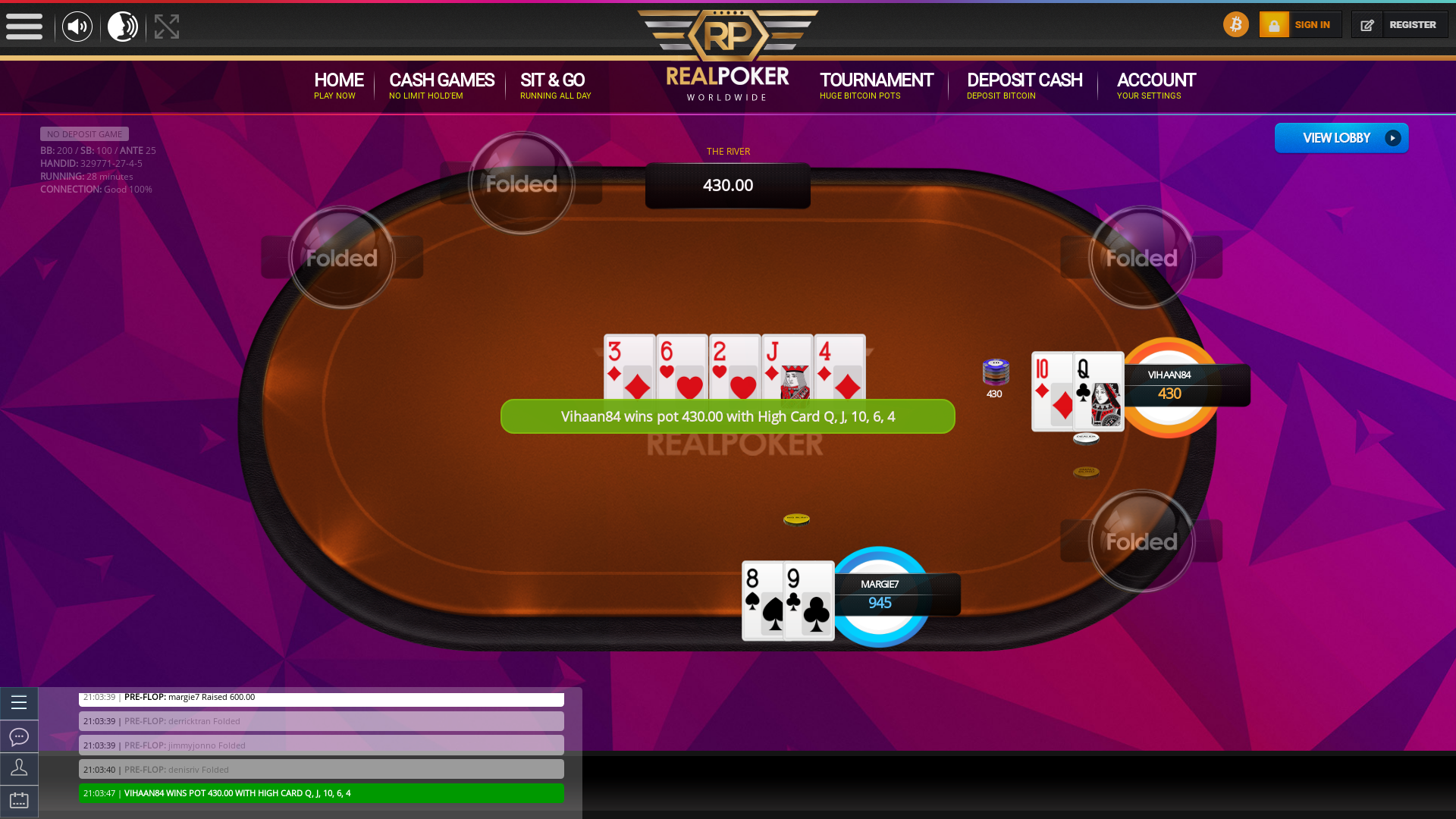 Real poker on a 10 player table in the 28th minute of the game