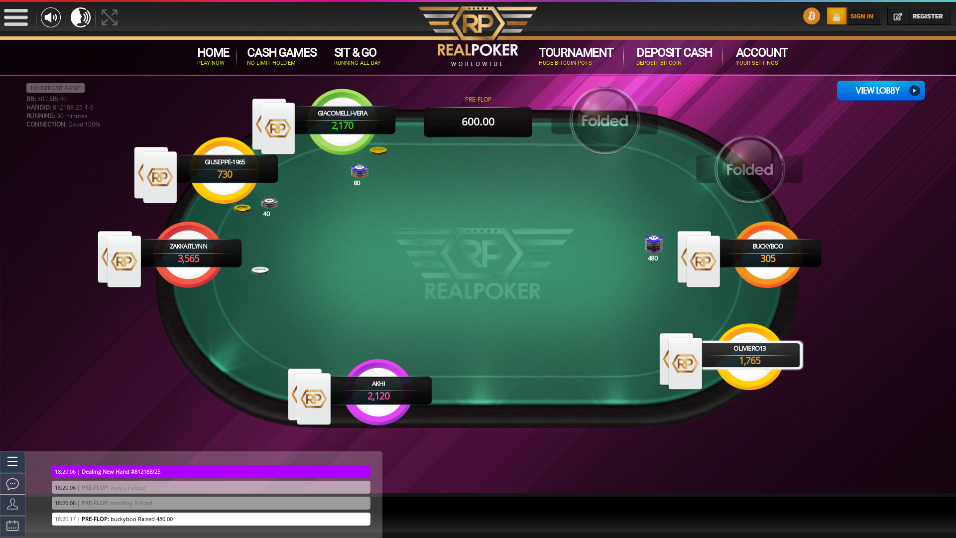 Real poker on a 10 player table in the 30th minute of the game