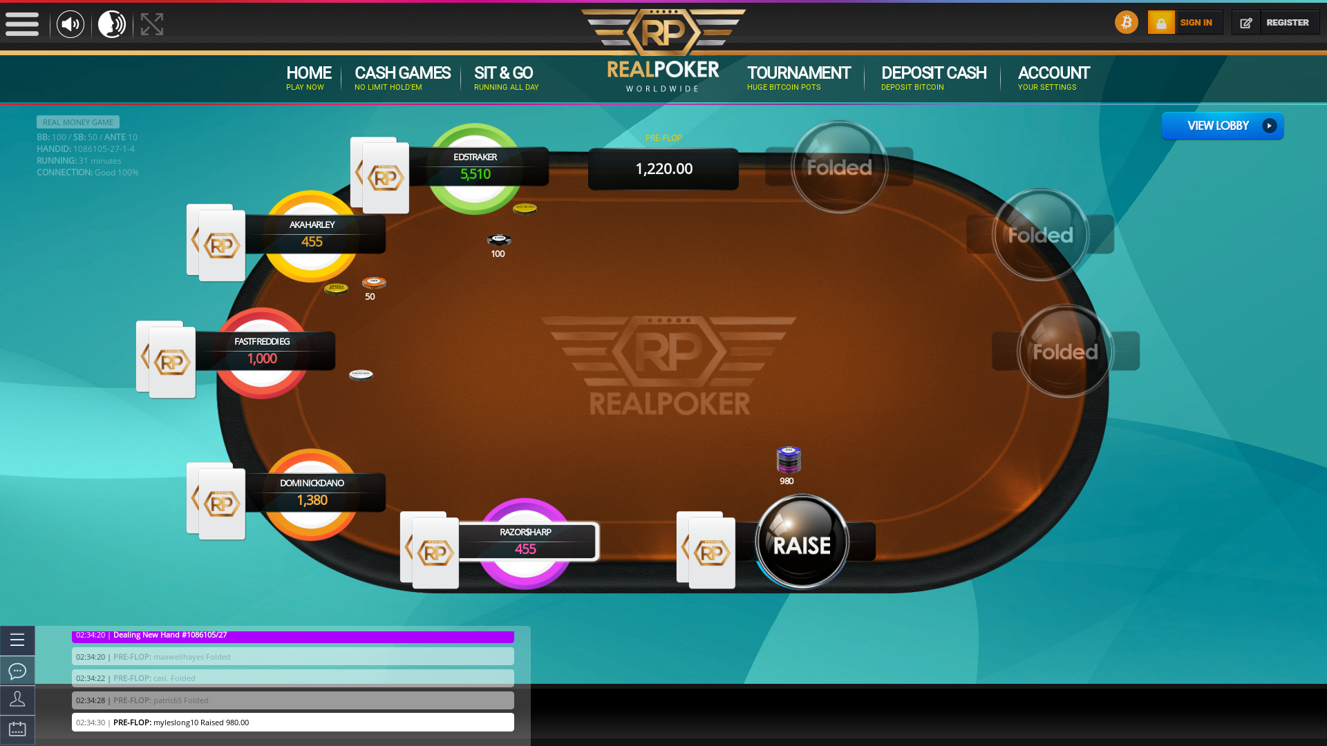 Real poker on a 10 player table in the 3 game