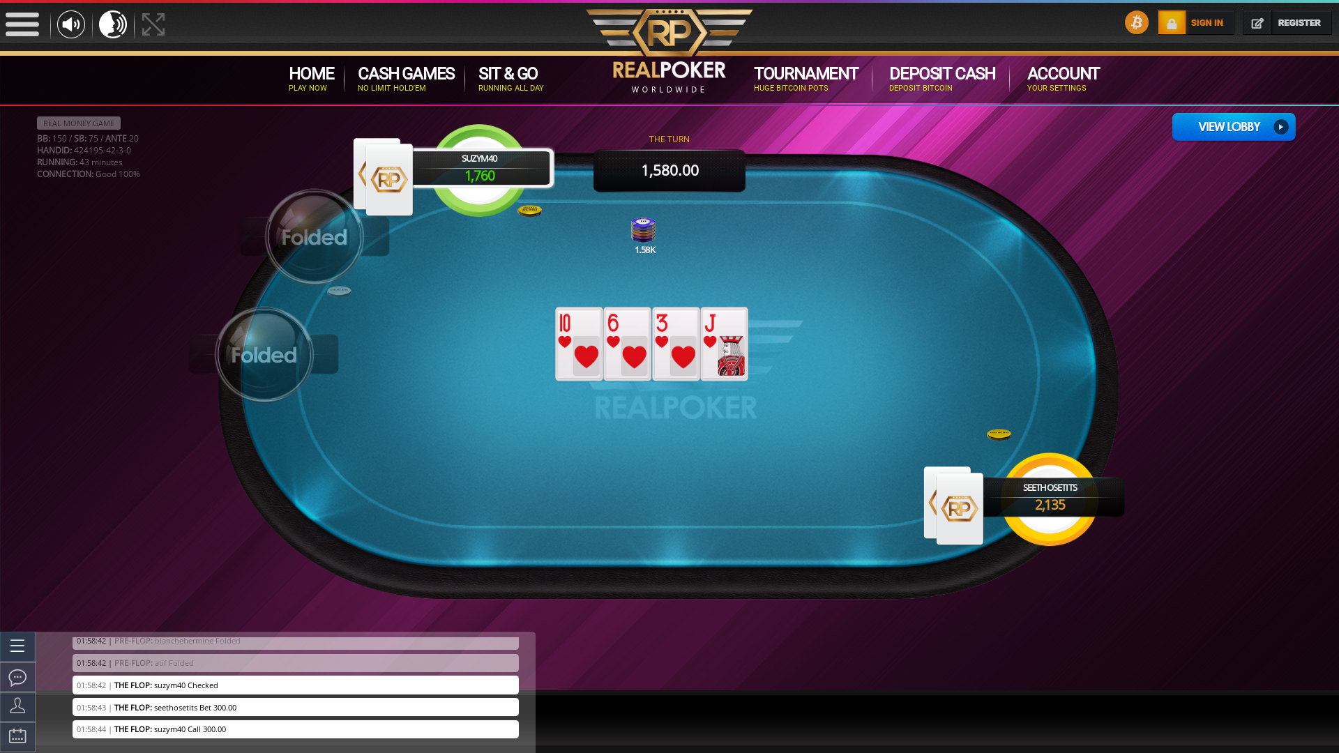 Real poker on a 10 player table in the 43rd minute of the game
