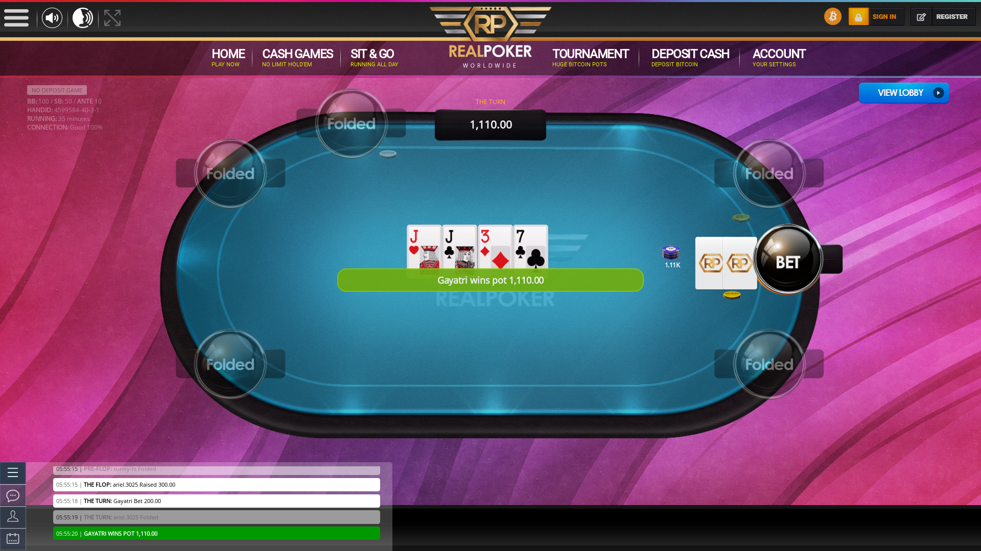 Rio de Janeiro poker table on a 10 player table in the 35th minute